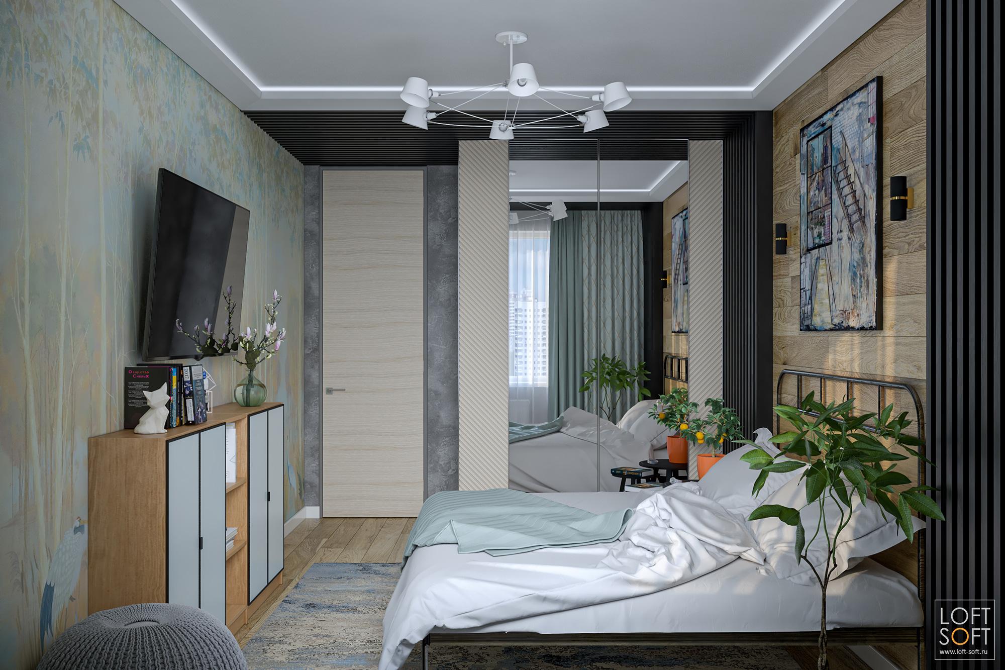 Современная спальня срейками настене