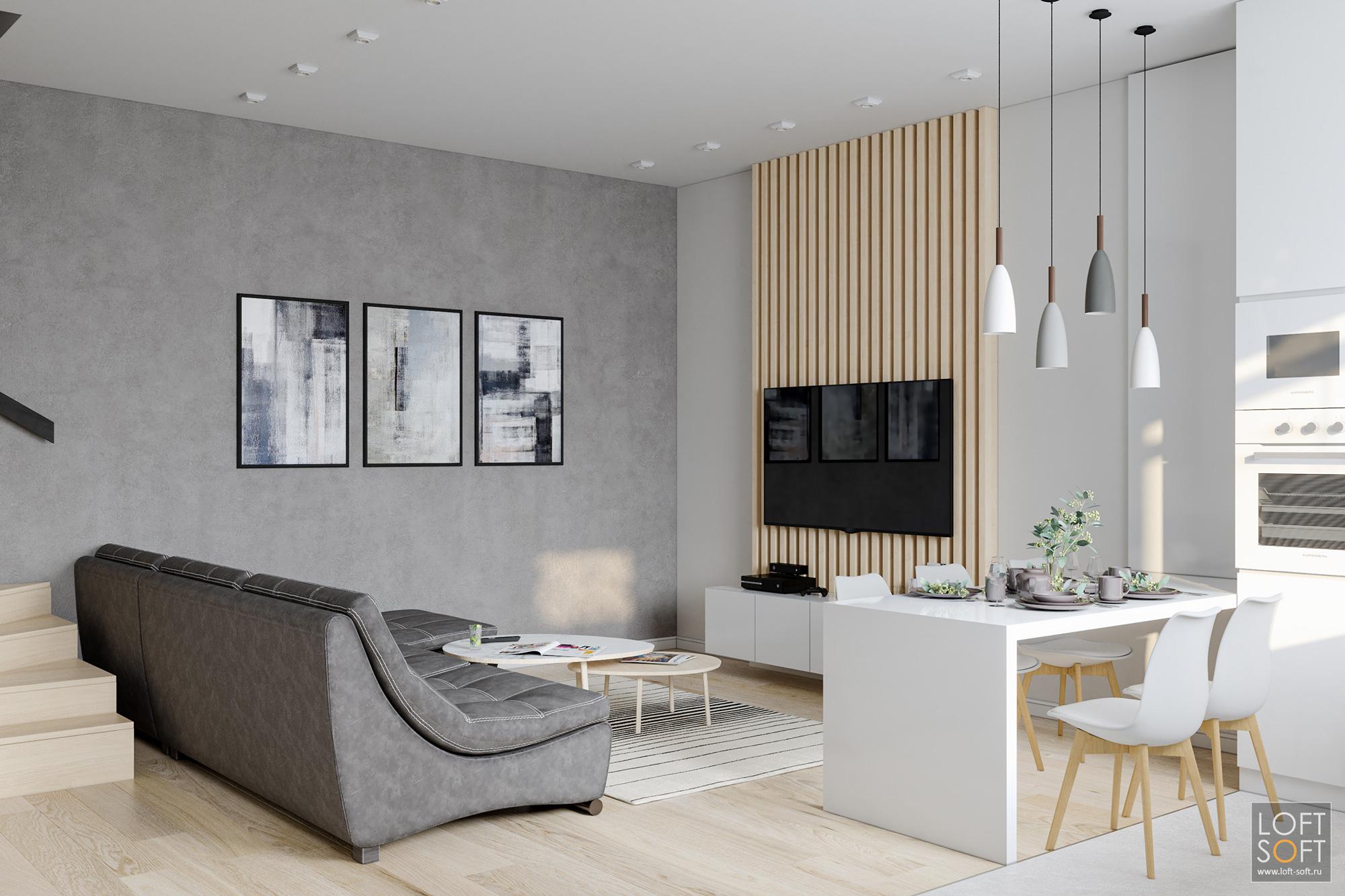 современный минимализм винтерьере, светлая гостиная, телевизор нарейках