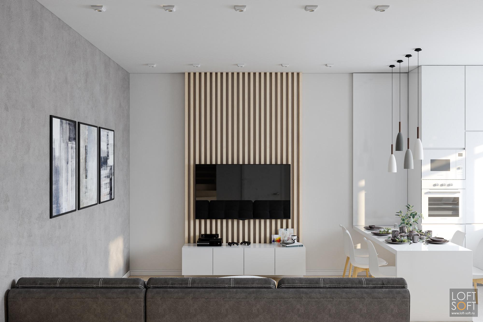 современный минимализм винтерьере, акцентная стена, декоративный бетон