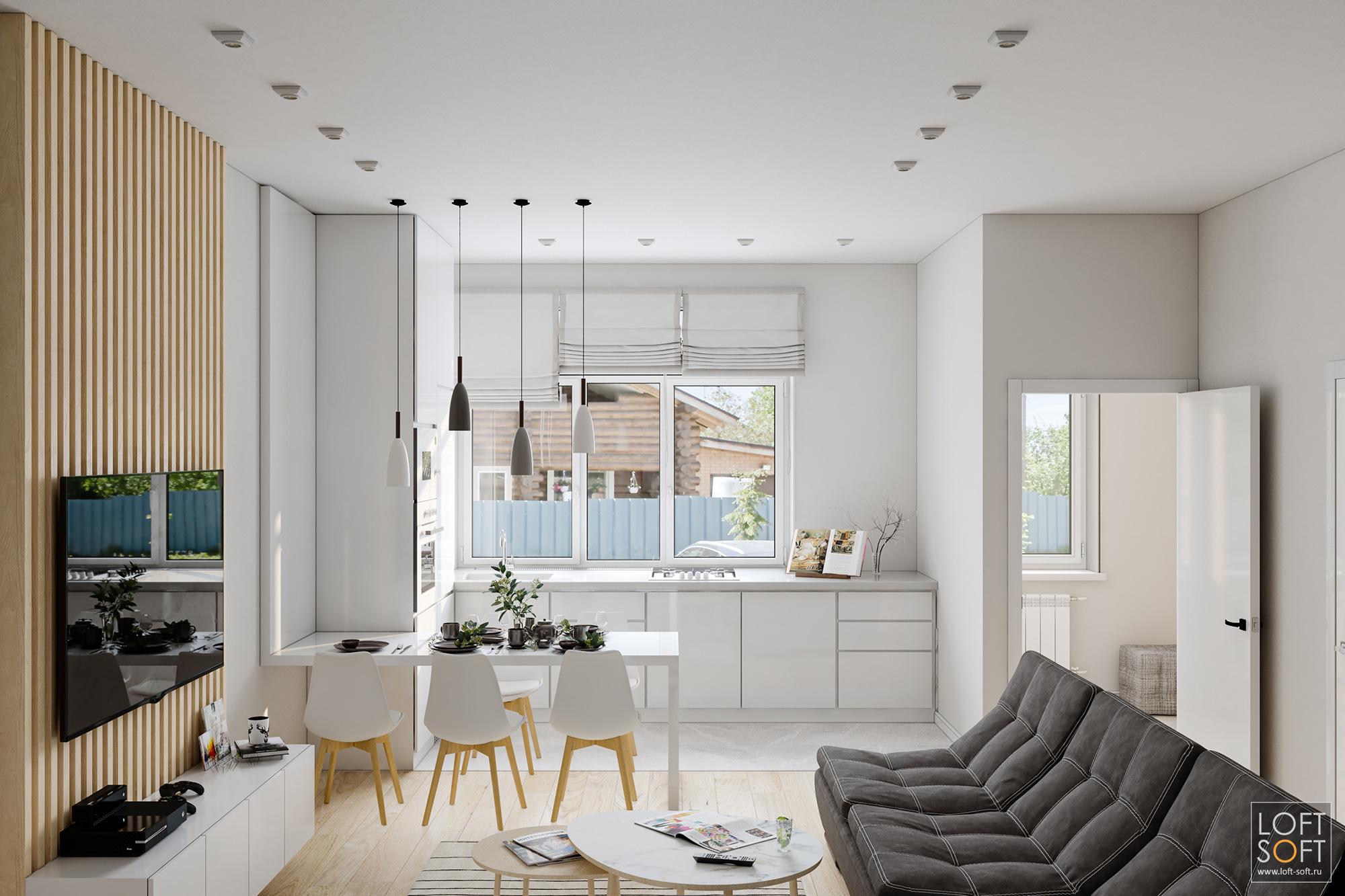 современный минимализм винтерьере, светлая кухня, белая мебель
