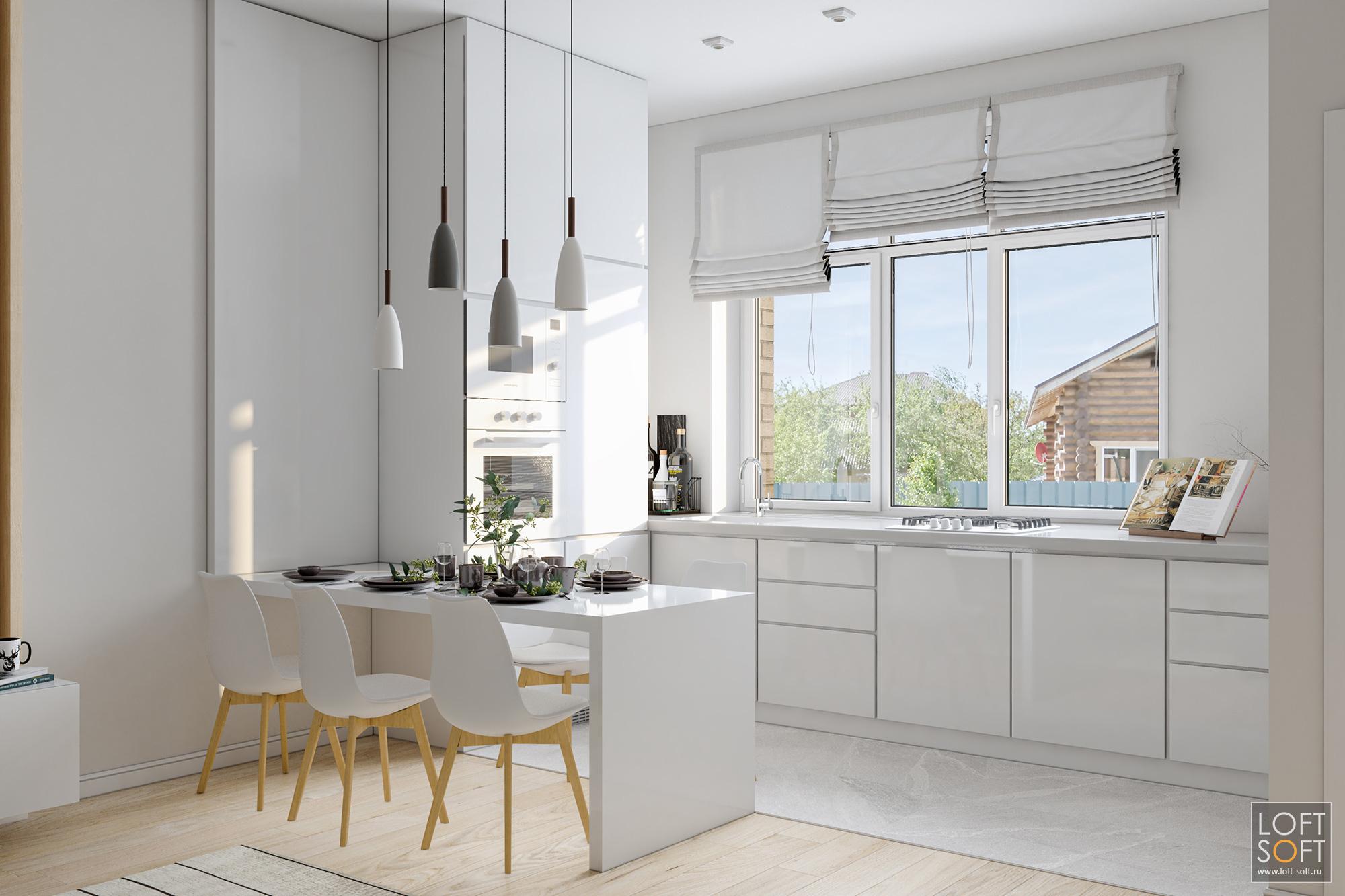 белая кухня, минимализм накухне