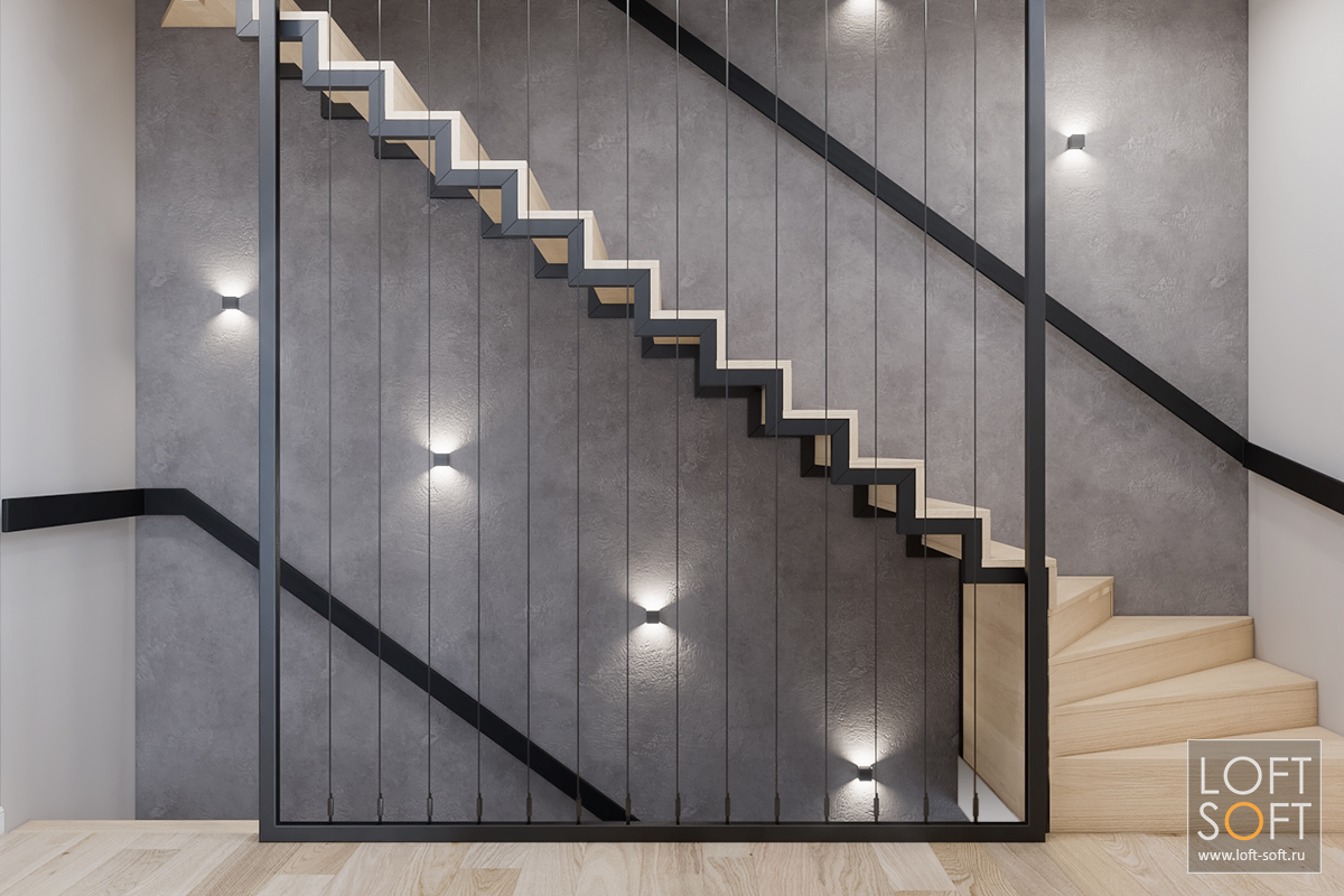 отделка лестничного проёма, ограждение лестницы из тросов