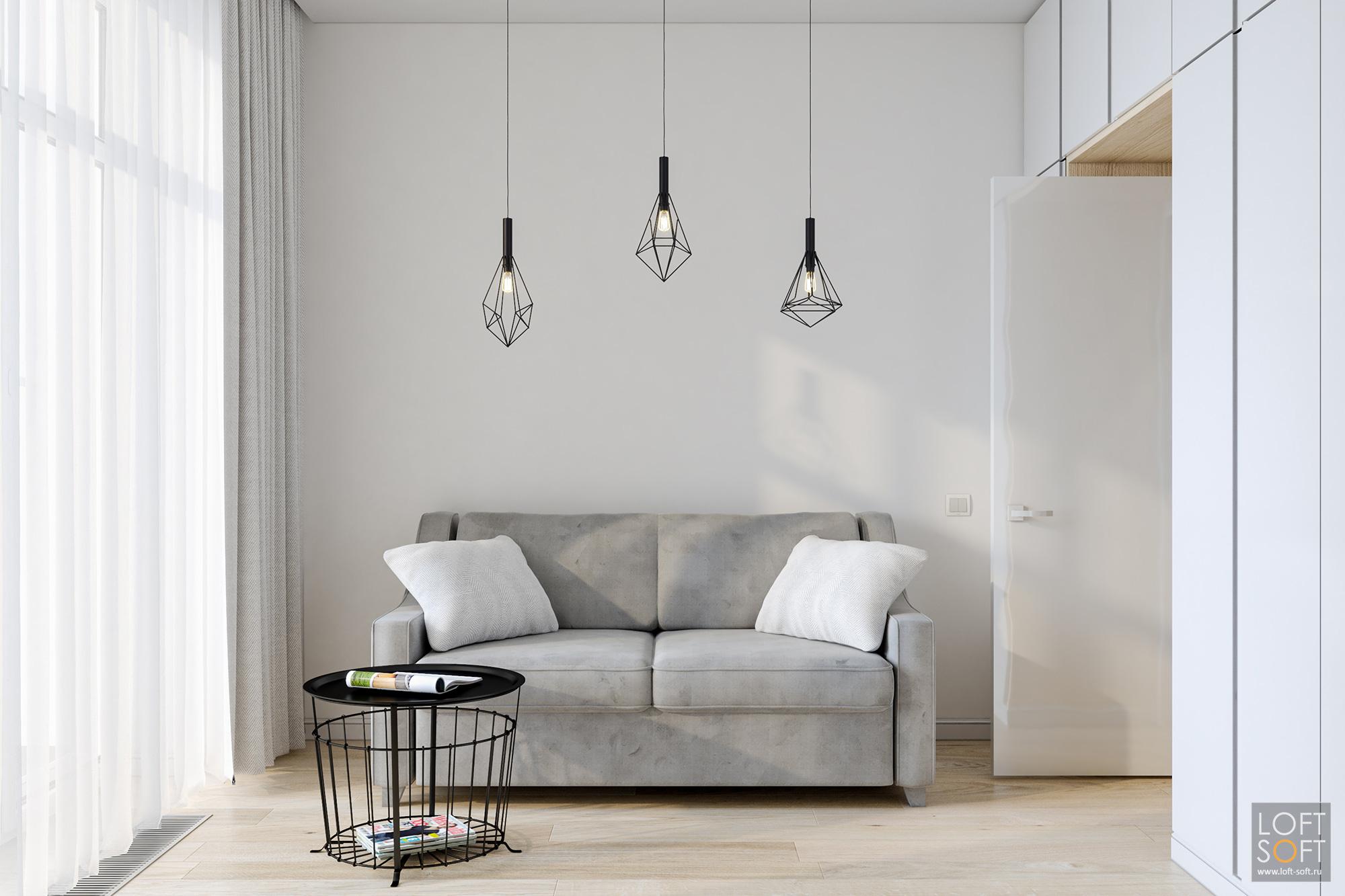 минимализм винтерьере, гостевая комната, светлая мебель