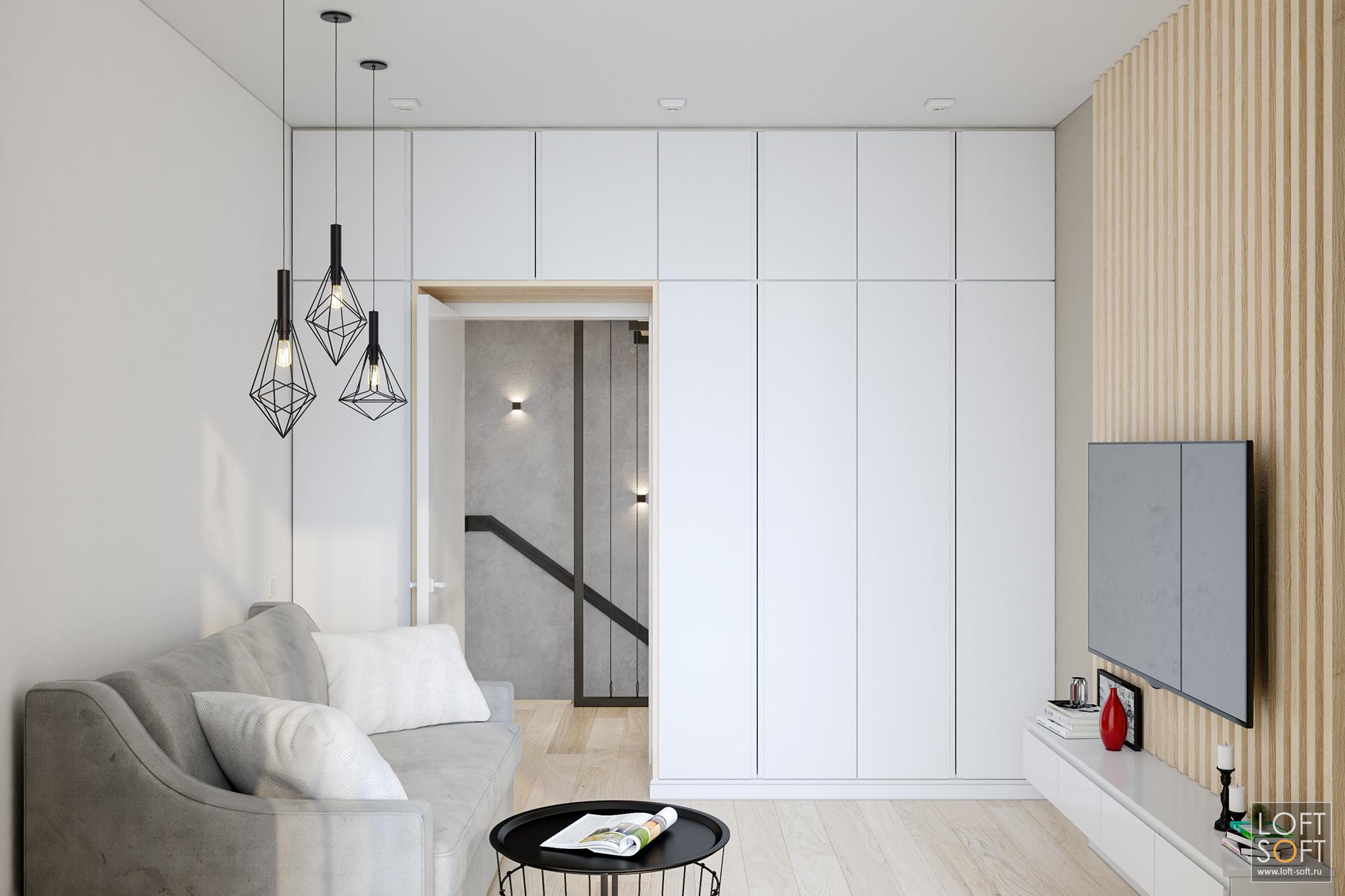 минимализм вгостевой, современная мебель, белый шкаф