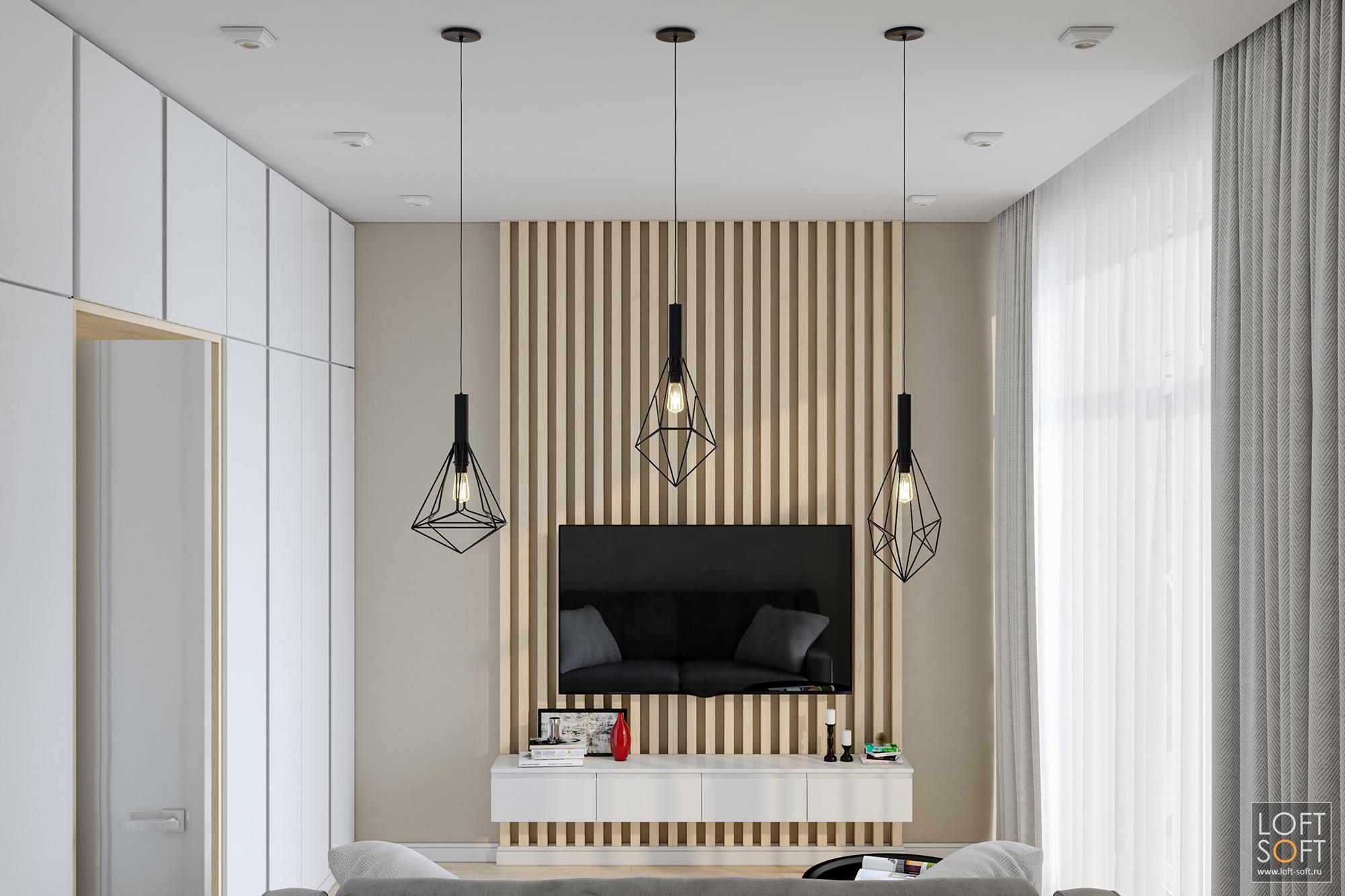 рейки для крепления телевизора, современный интерьер, светлая комната