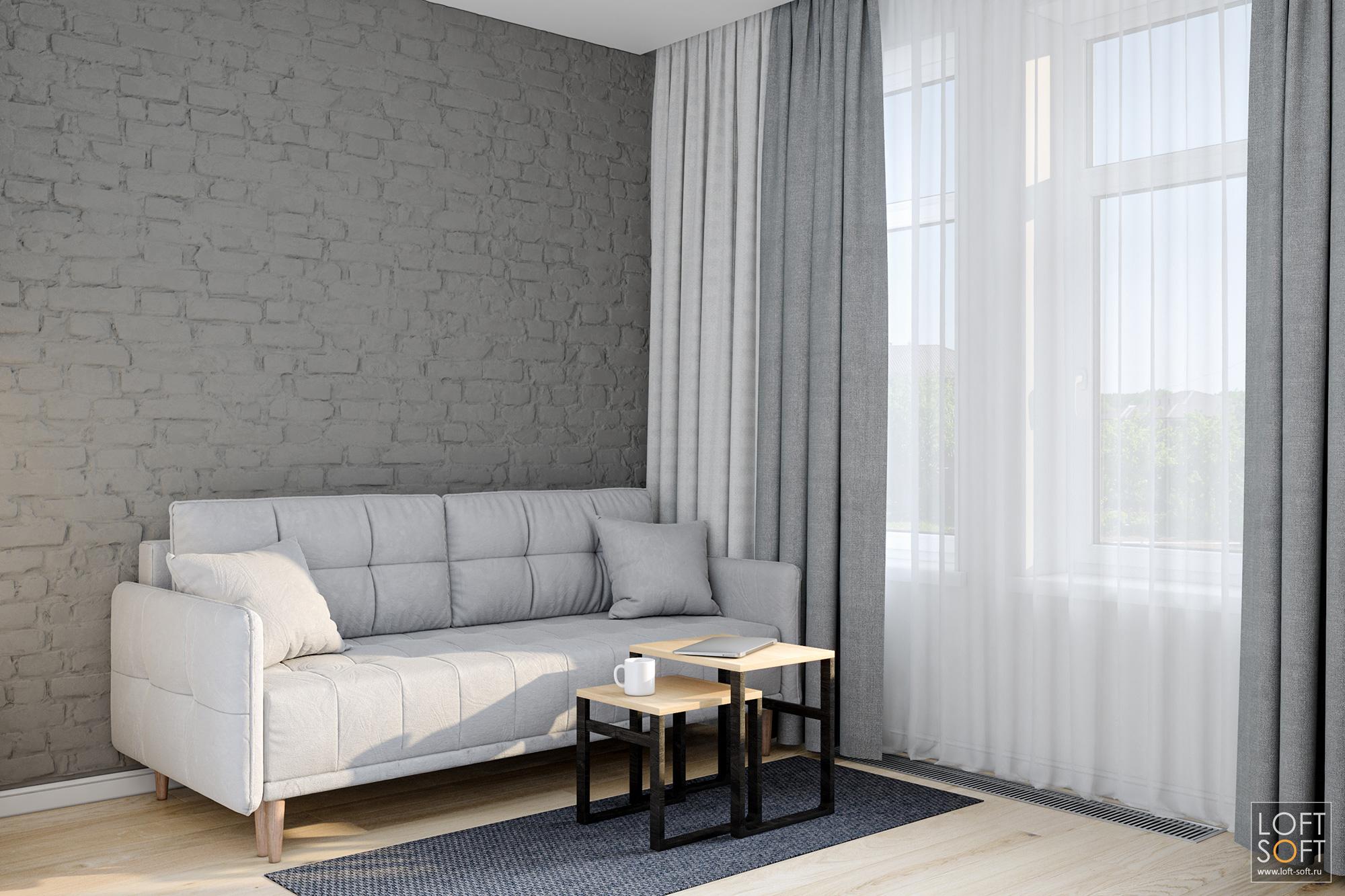 минимализм винтерьере, стена из серого клинкера, белый диван винтерьере