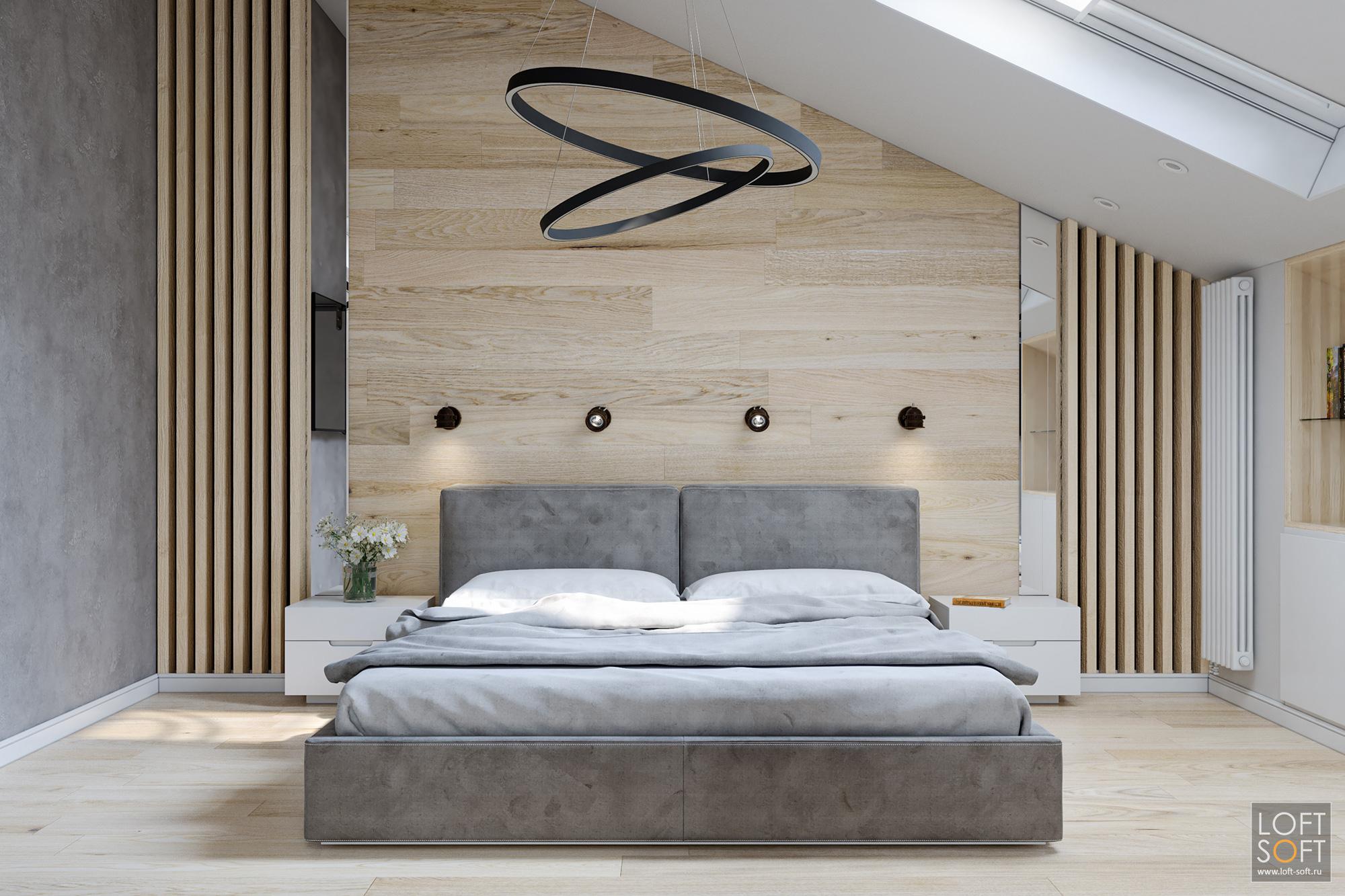 спальня всовременном стиле, современный минимализм винтерьере, рейки настене, ламинат закроватью