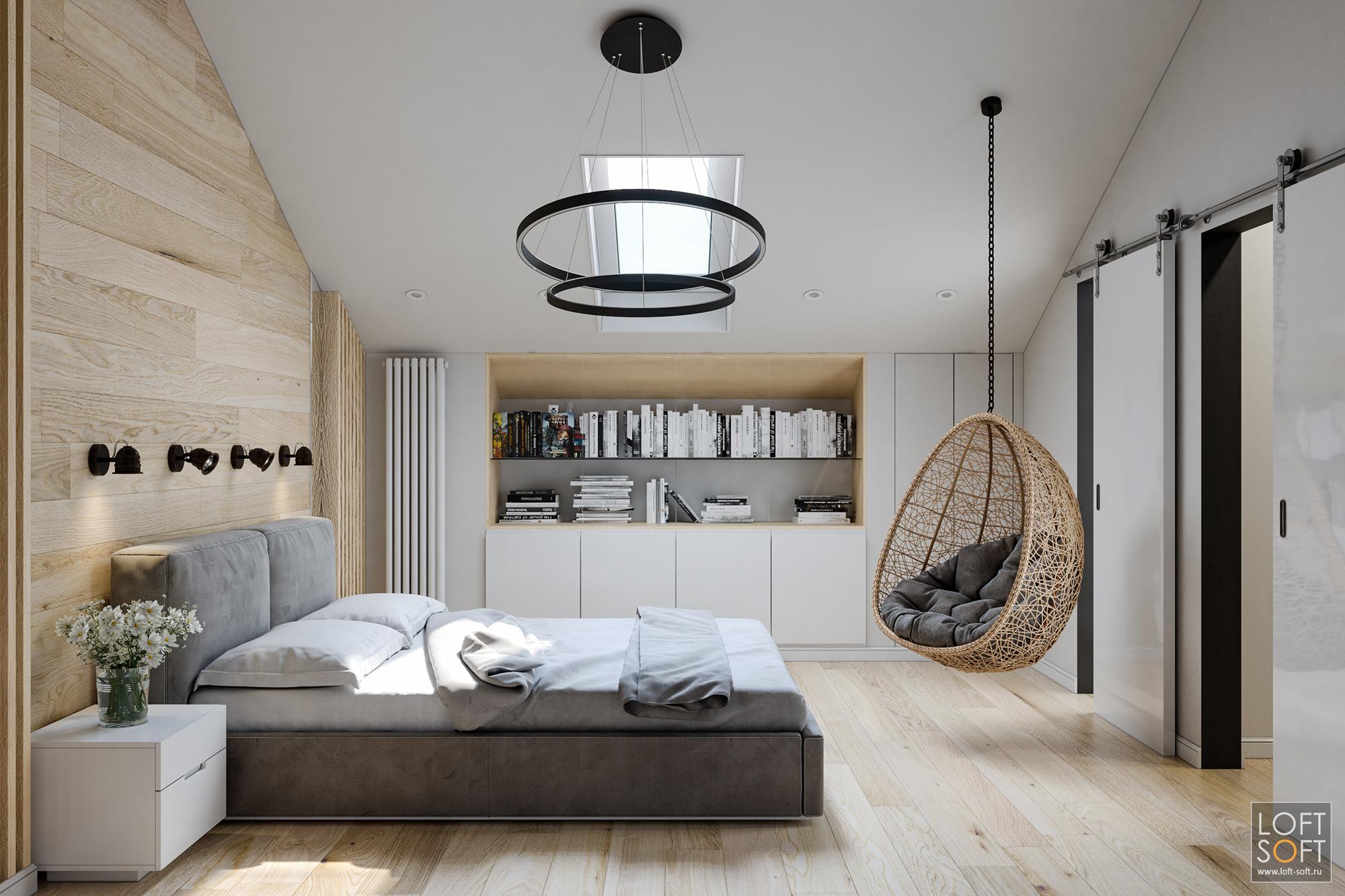 ламинат визголовье кровати, рейки настене, декор спальни, современная спальня