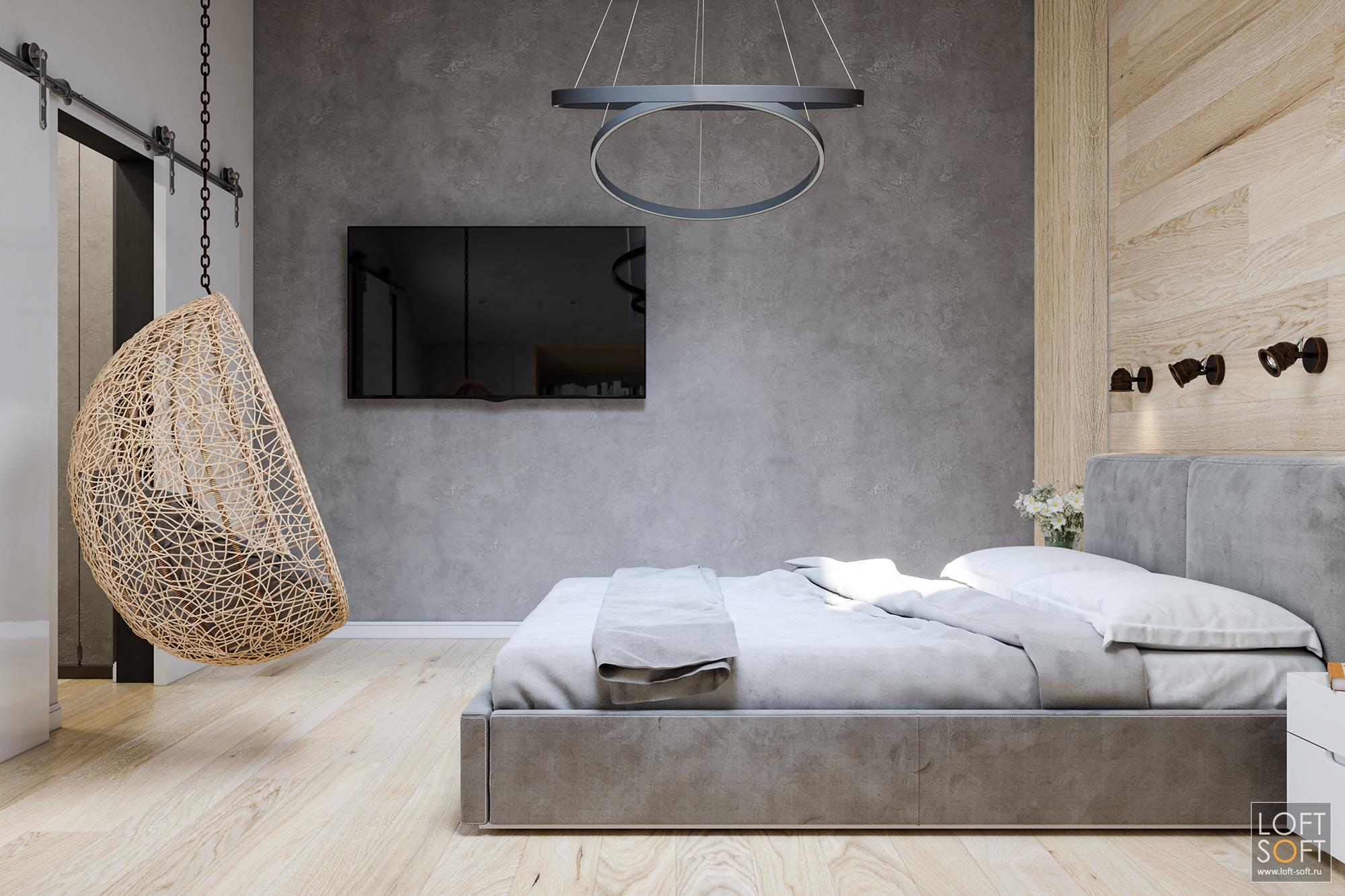 современная спальня, современный минимализм винтерьере, акцентная стена