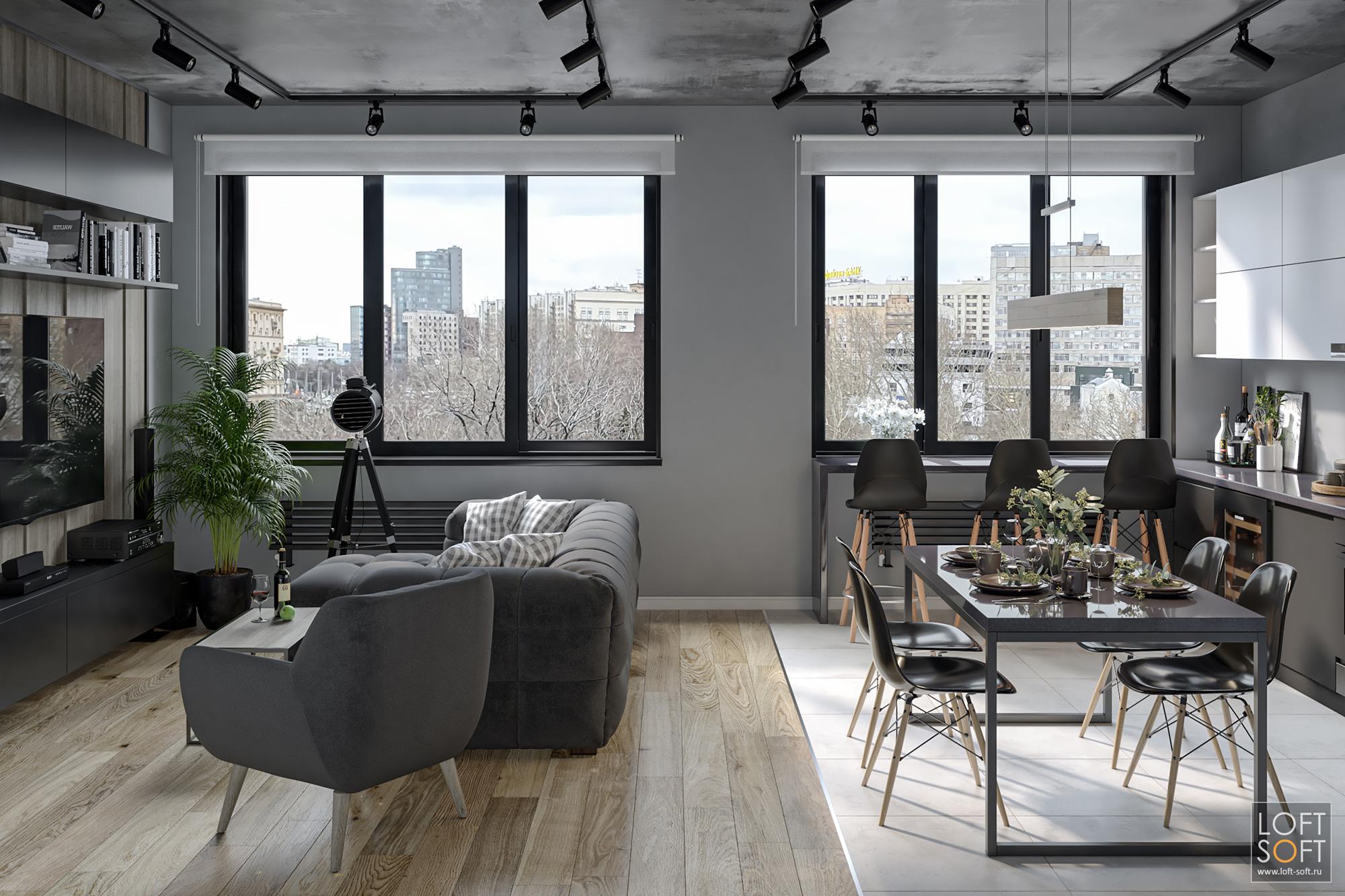 современный интерьер, серые цвета винтерьере, черная мебель