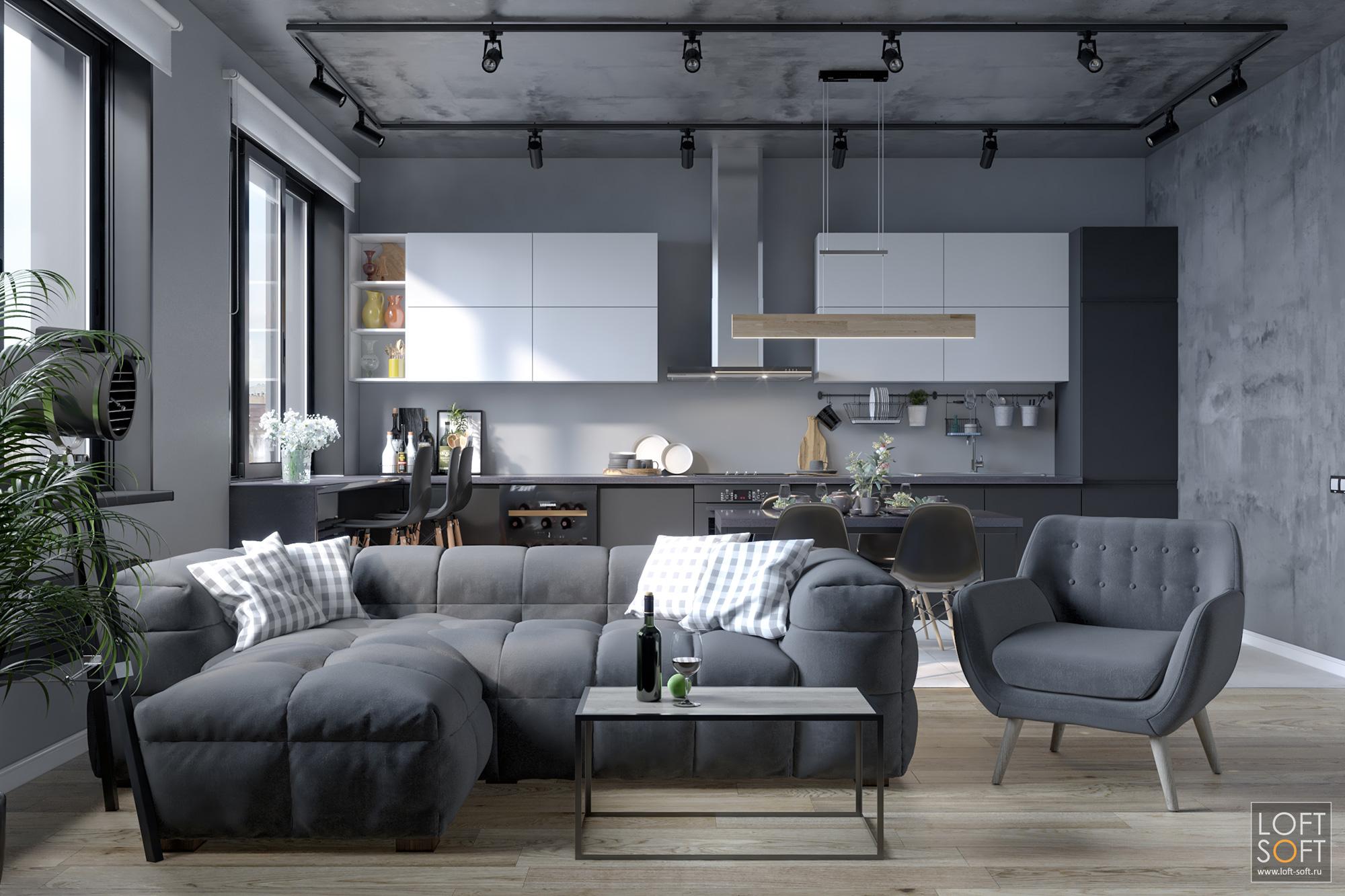 квартира встиле лофт, серый интерьер, серая мебель вгостиной