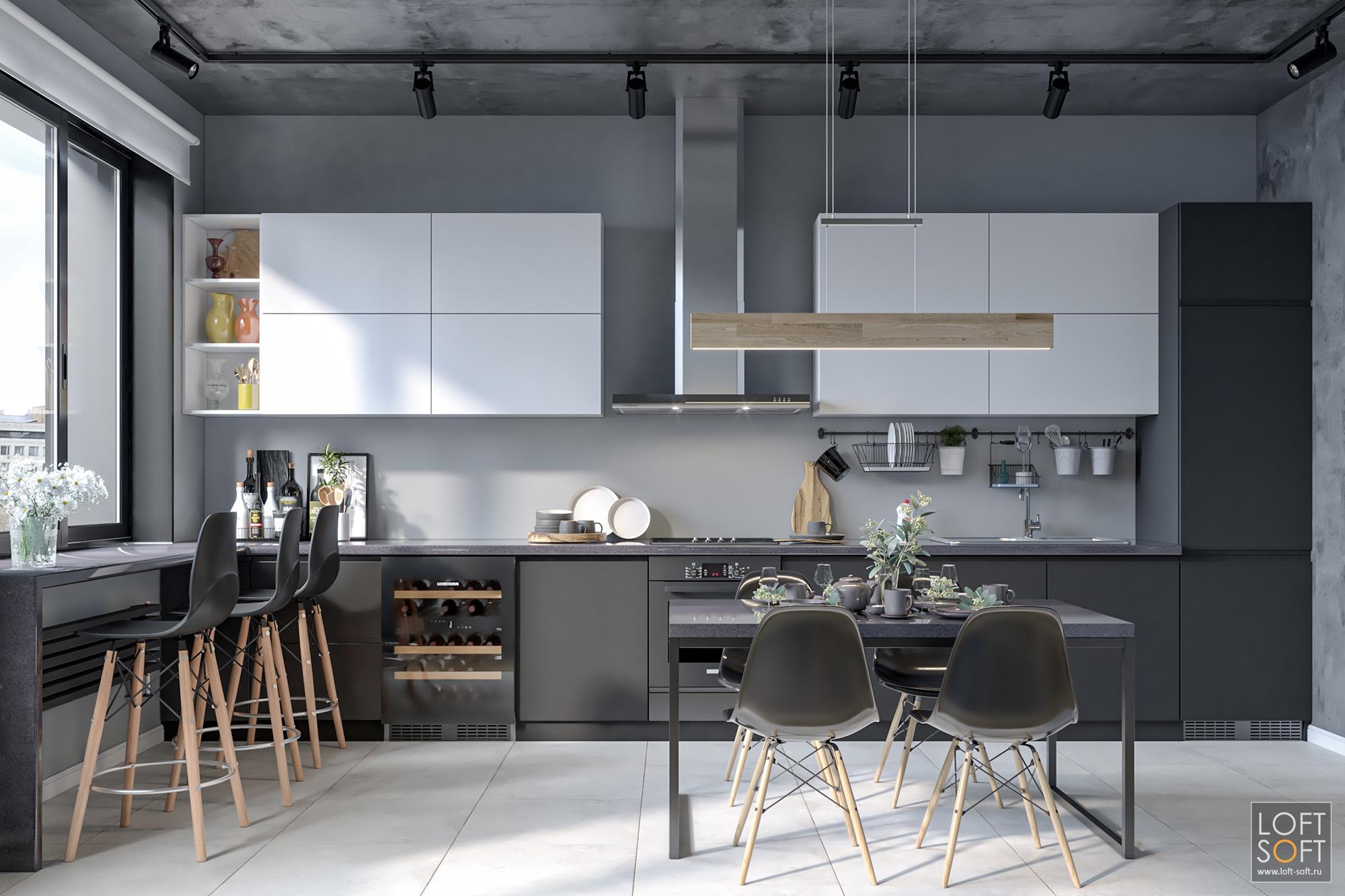 черно-белая кухня, заказать дизайн-проект, современная кухня