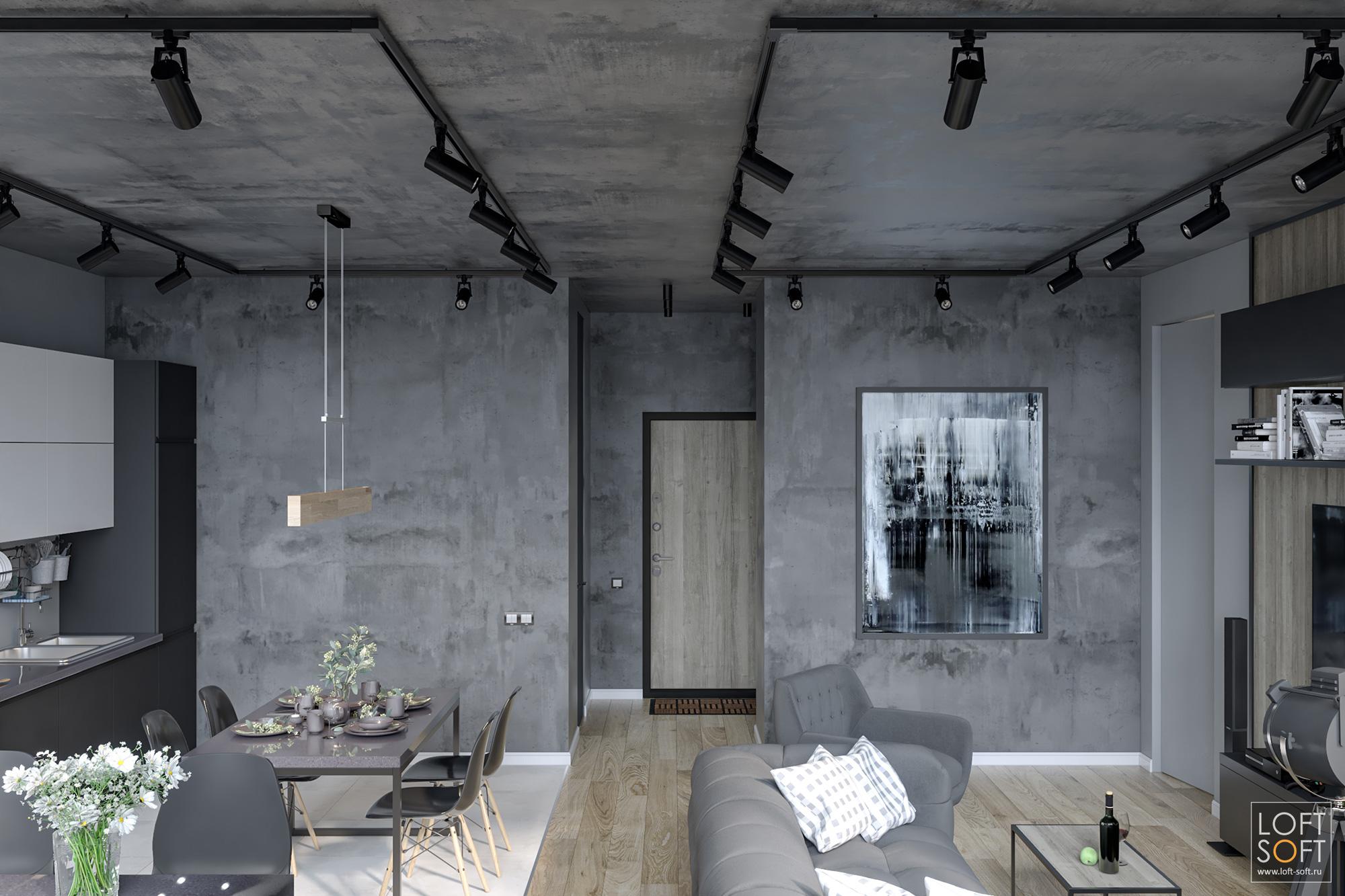 бетонный потолок, лофт винтерьере, трековый светильник по потолку