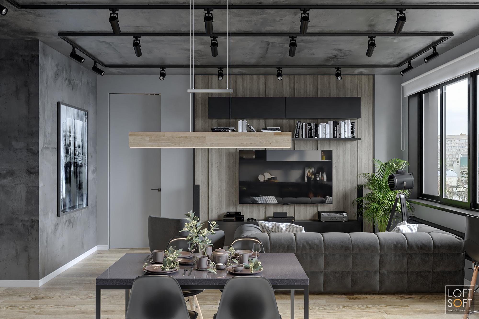 черная штукатурка исерые стены, современный лофт винтерьере