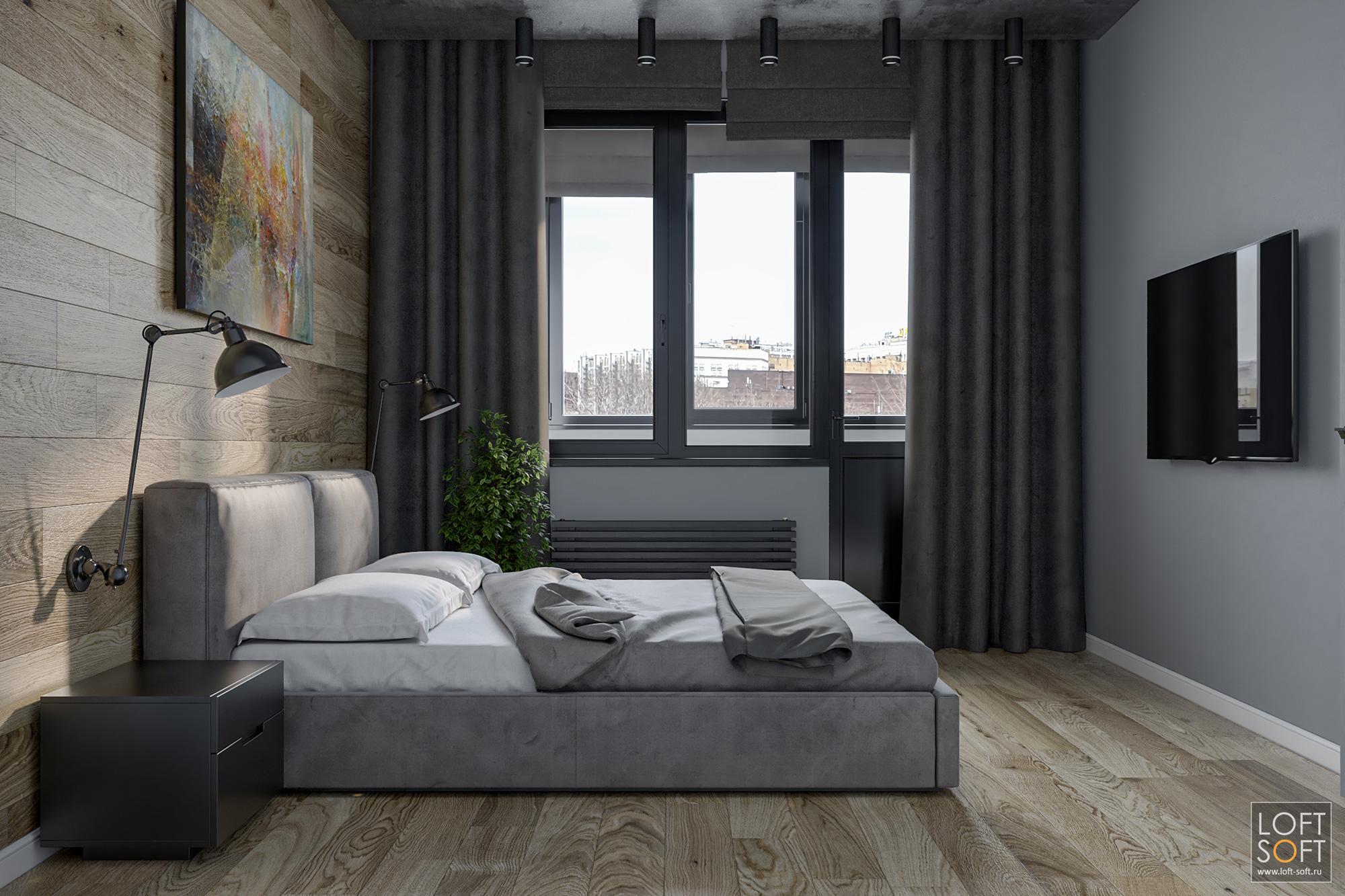 ламинат настене, интересная спальня, уютная спальня