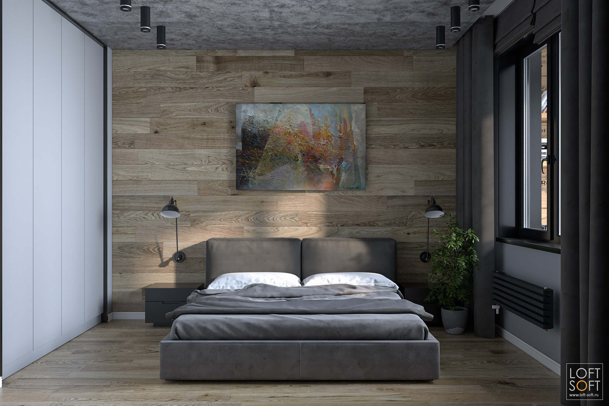 спальня встиле лофт, уютная спальня