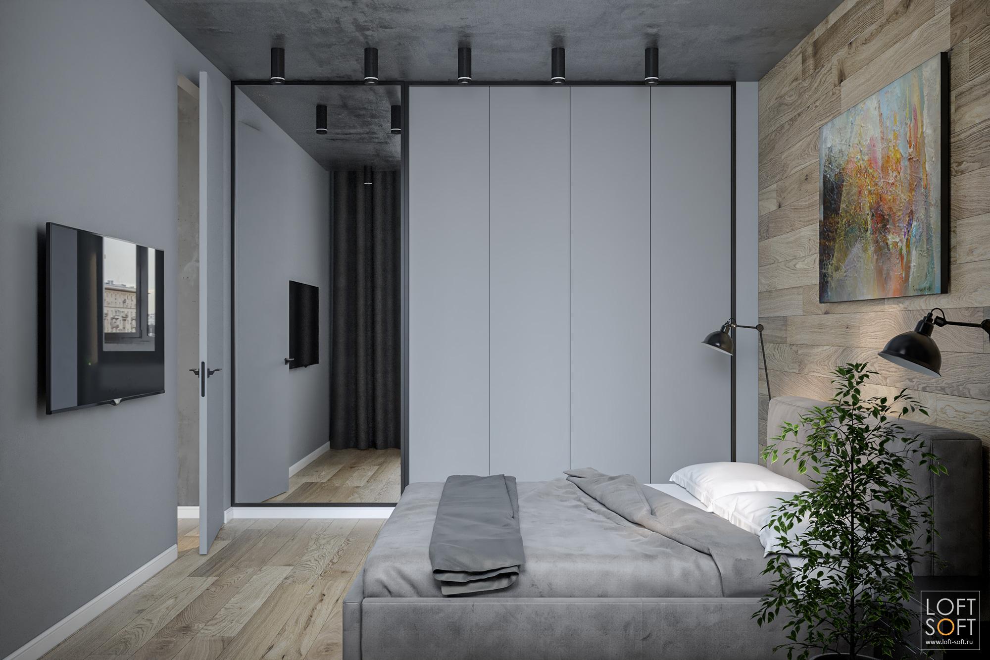 встроенный шкаф вспальне, современная спальня, лофт винтерьере