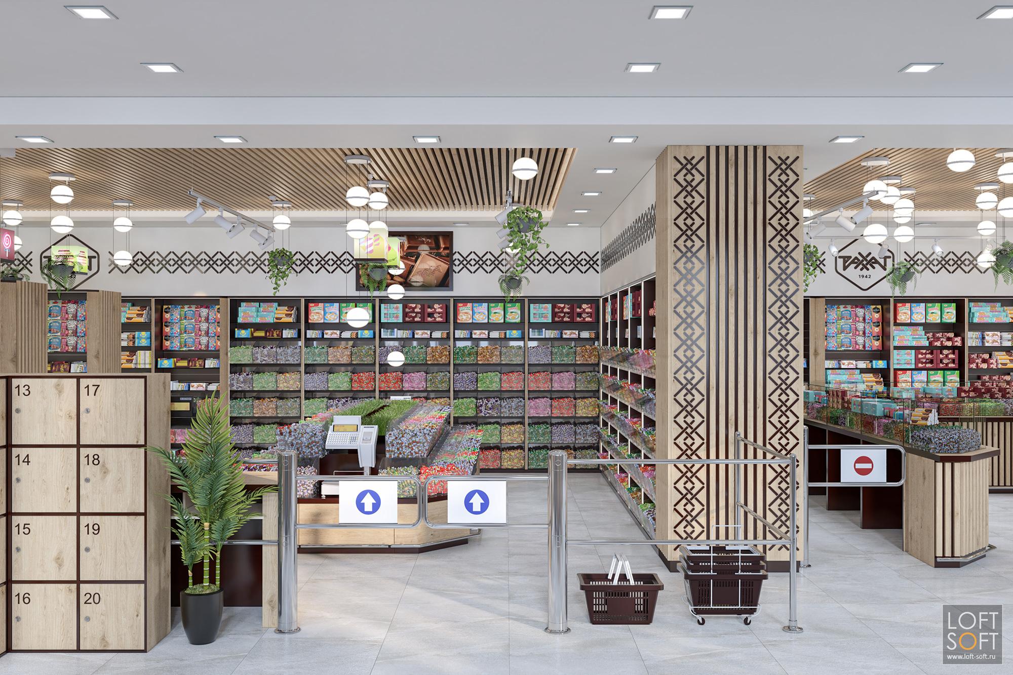 дизайн магазина сладостей, дизайн-проект магазина, современный кондитерский магазин