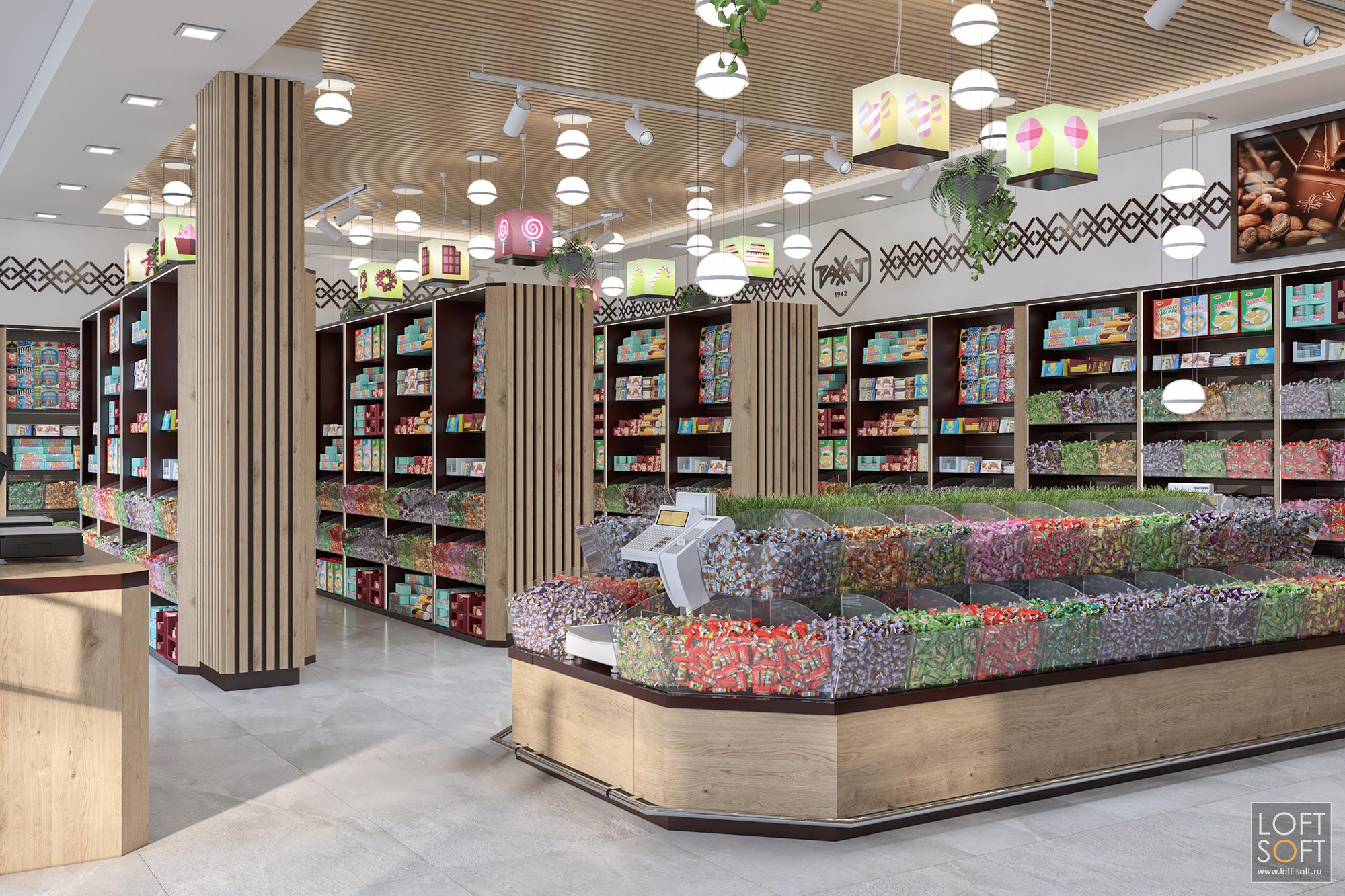 современный кондитерский магазин, зона самообслуживания вмагазине, проект магазина