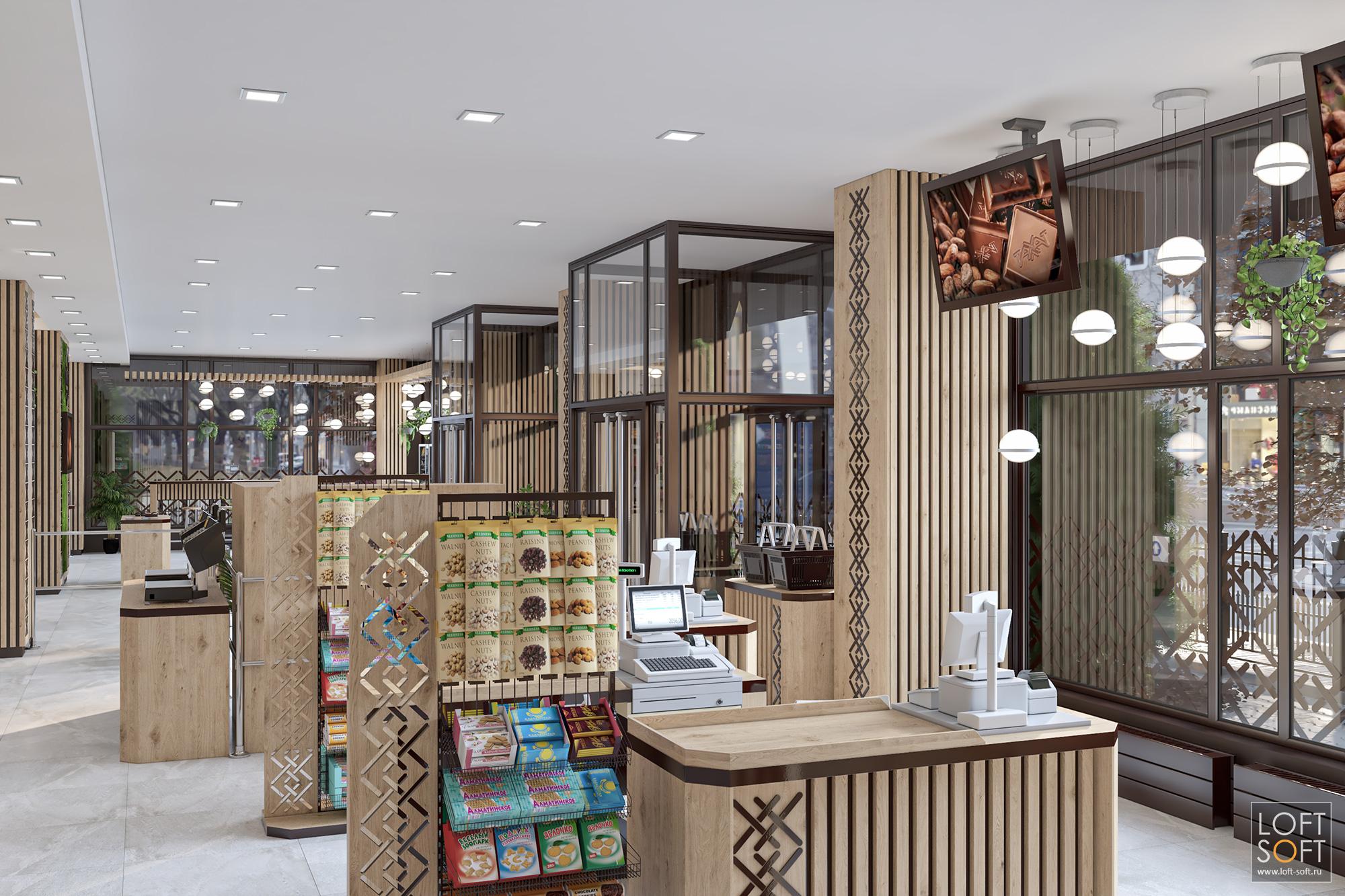современный кондитерский магазин, дизайн магазина, современный интерьер