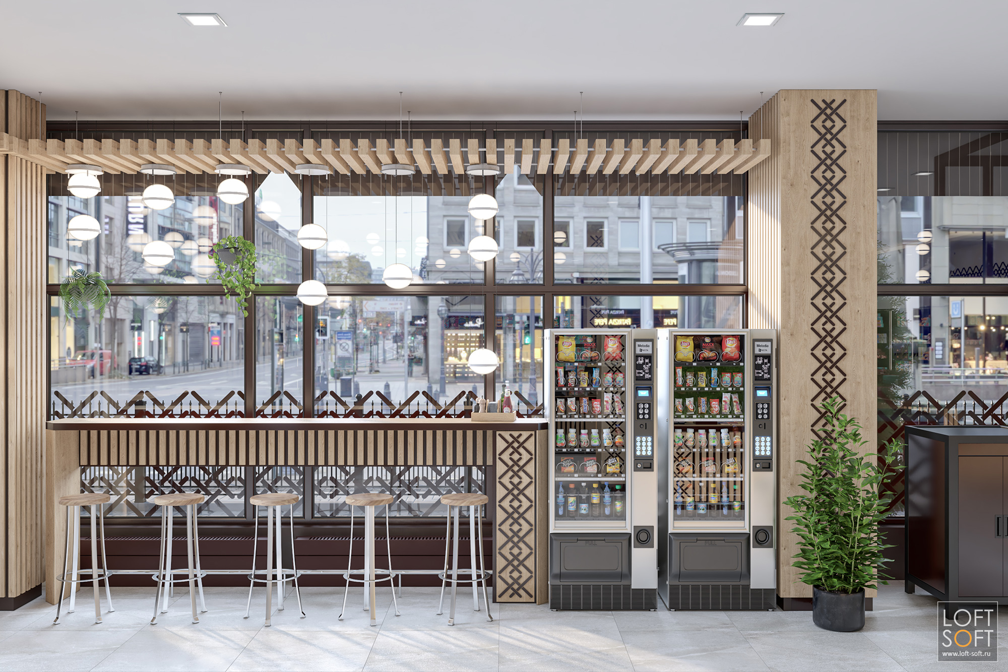 кафе вмагазине, барная стойка, современный кондитерский магазин