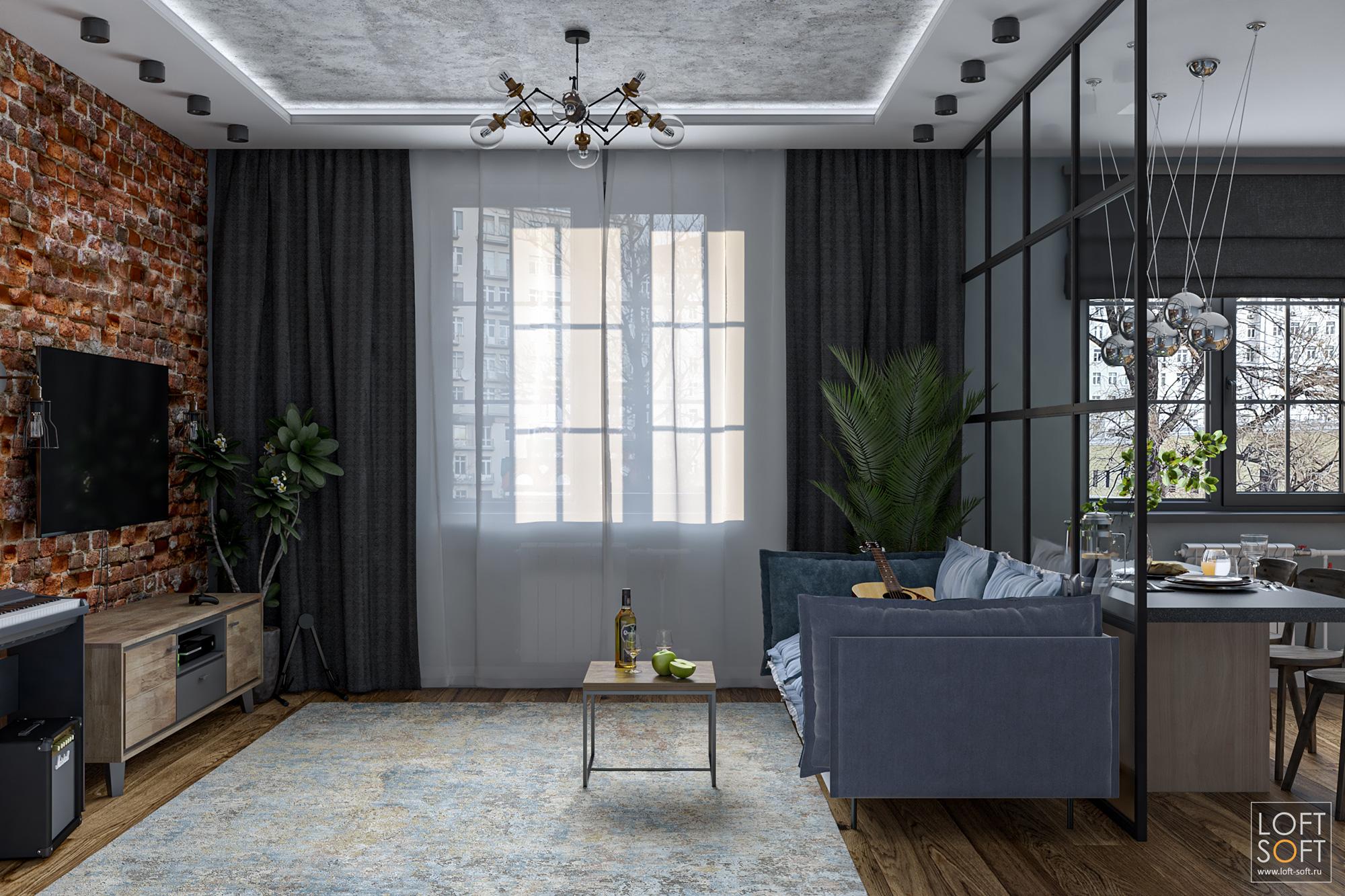 Проект однокомнатной квартиры встиле лофт