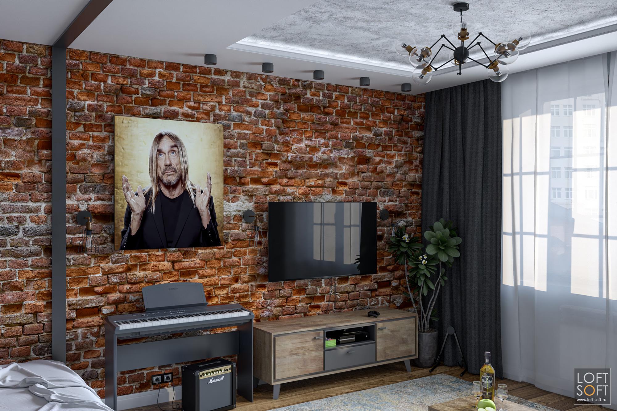 Однушка встиле лофт, кирпичная стена, бетонный потолок ипортрет Игги
