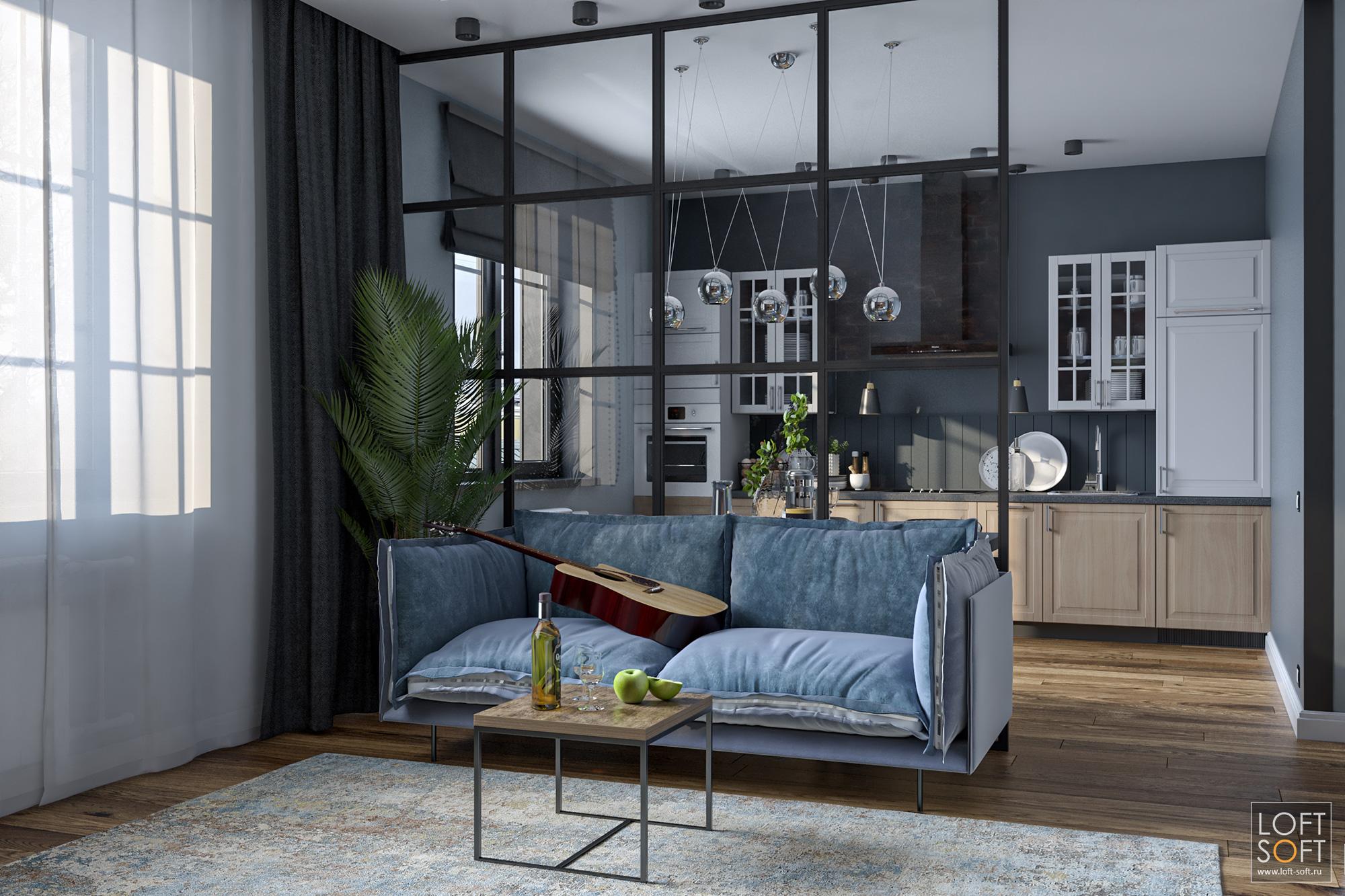 Лофт интерьер, стеклянная перегородка между комнатой икухней
