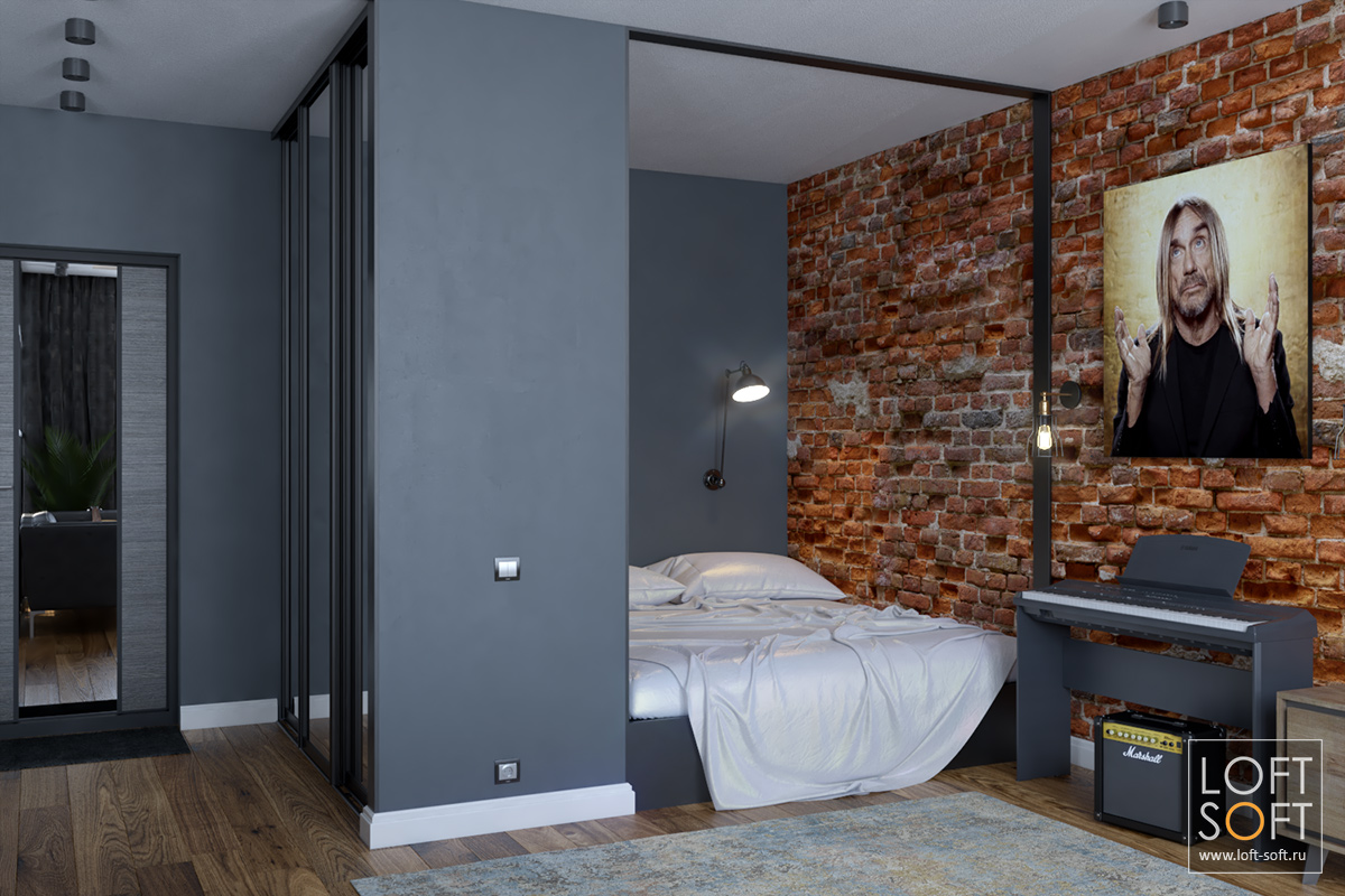 Спальная зона воднокомнатном лофте
