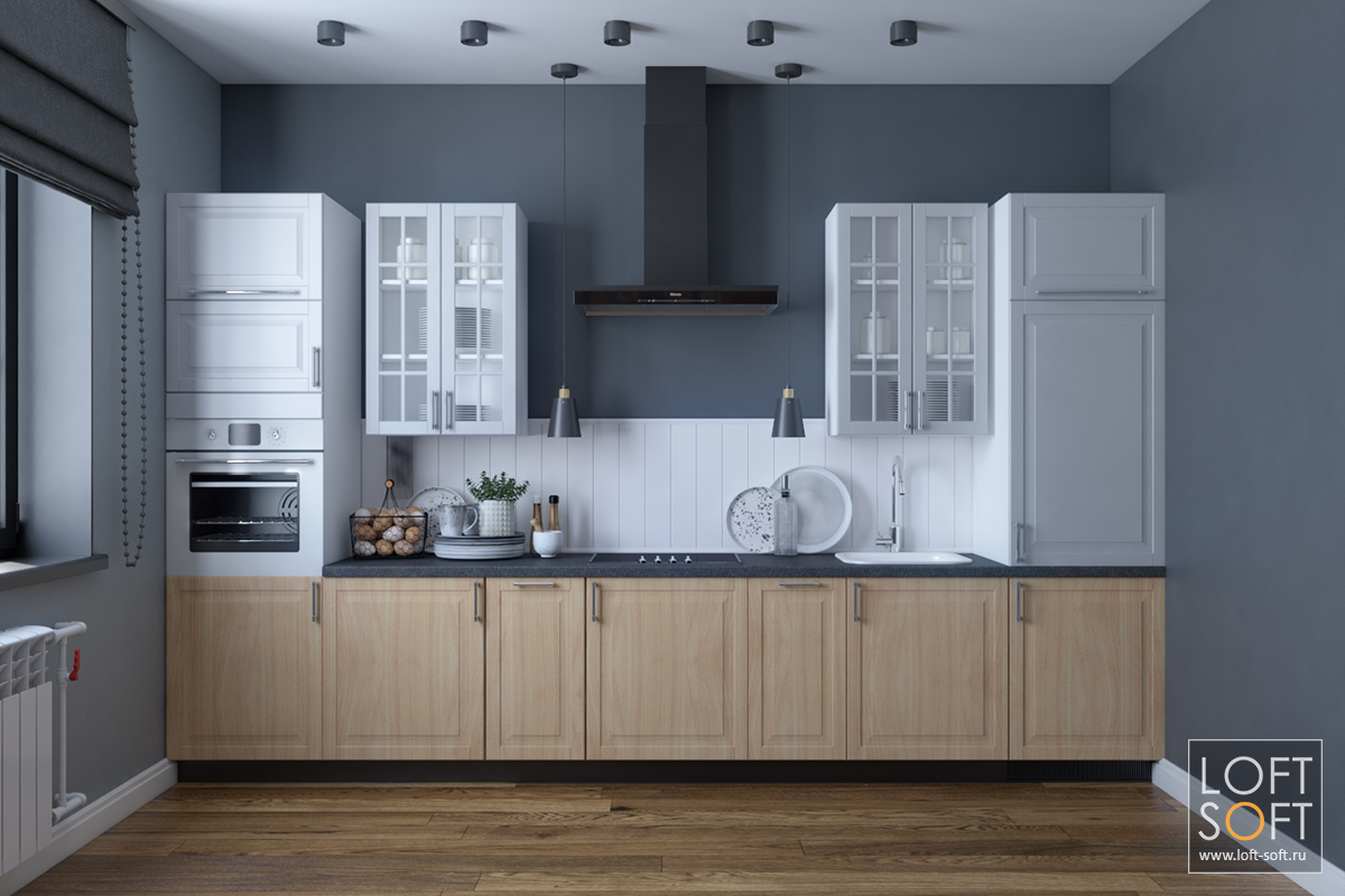 Кухня всовременном интерьере, белые фасады насерой стене