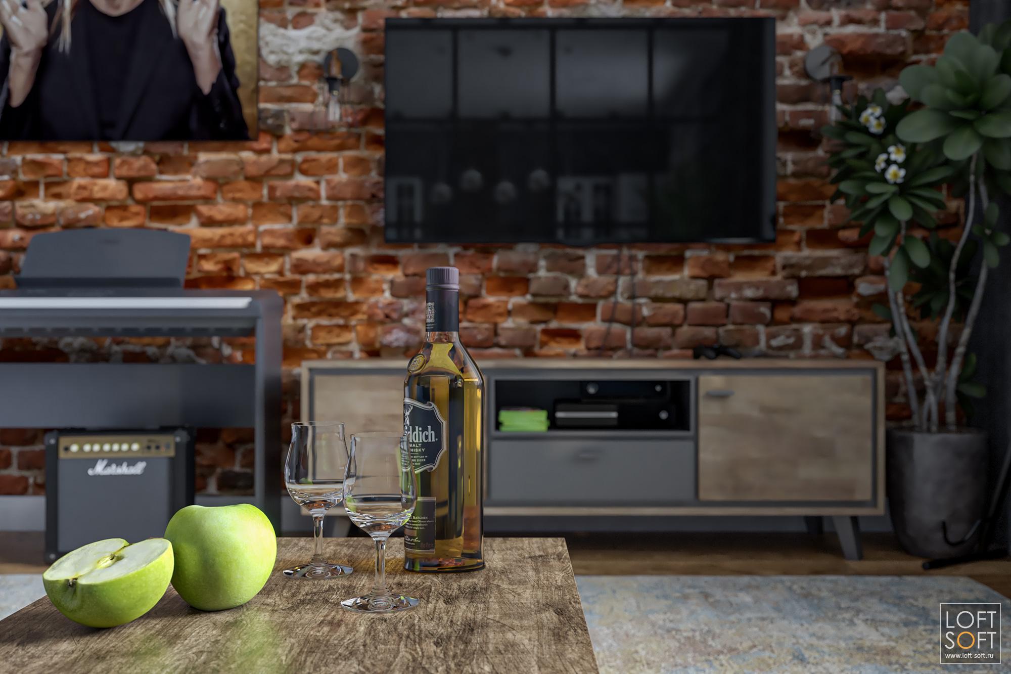 Интерьер лофт-студии, кирпичная стена ибутылка рома