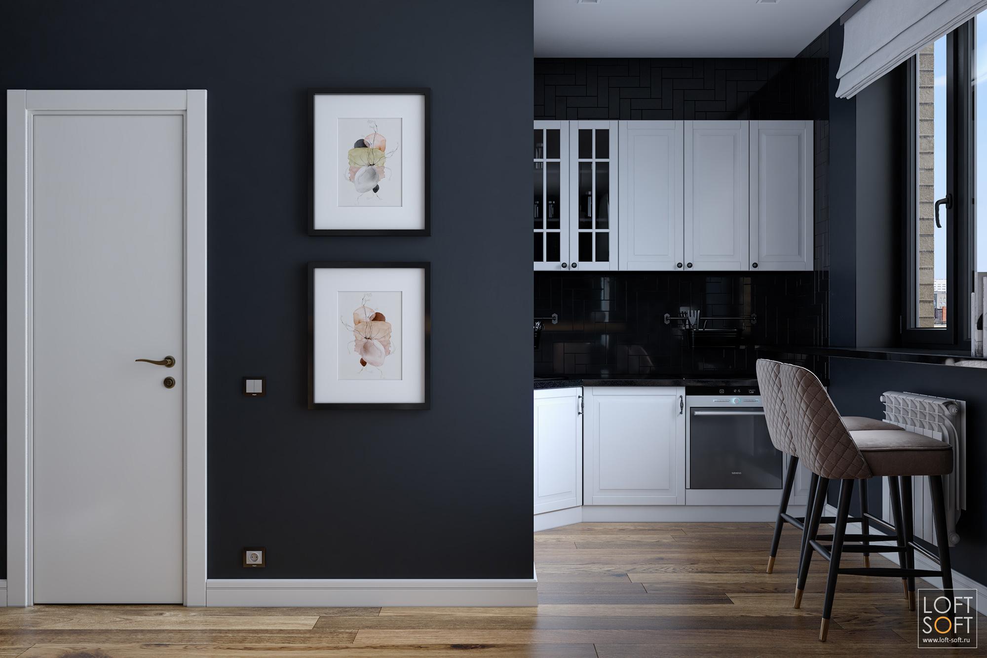 Черная кухня винтерьере студии П-44