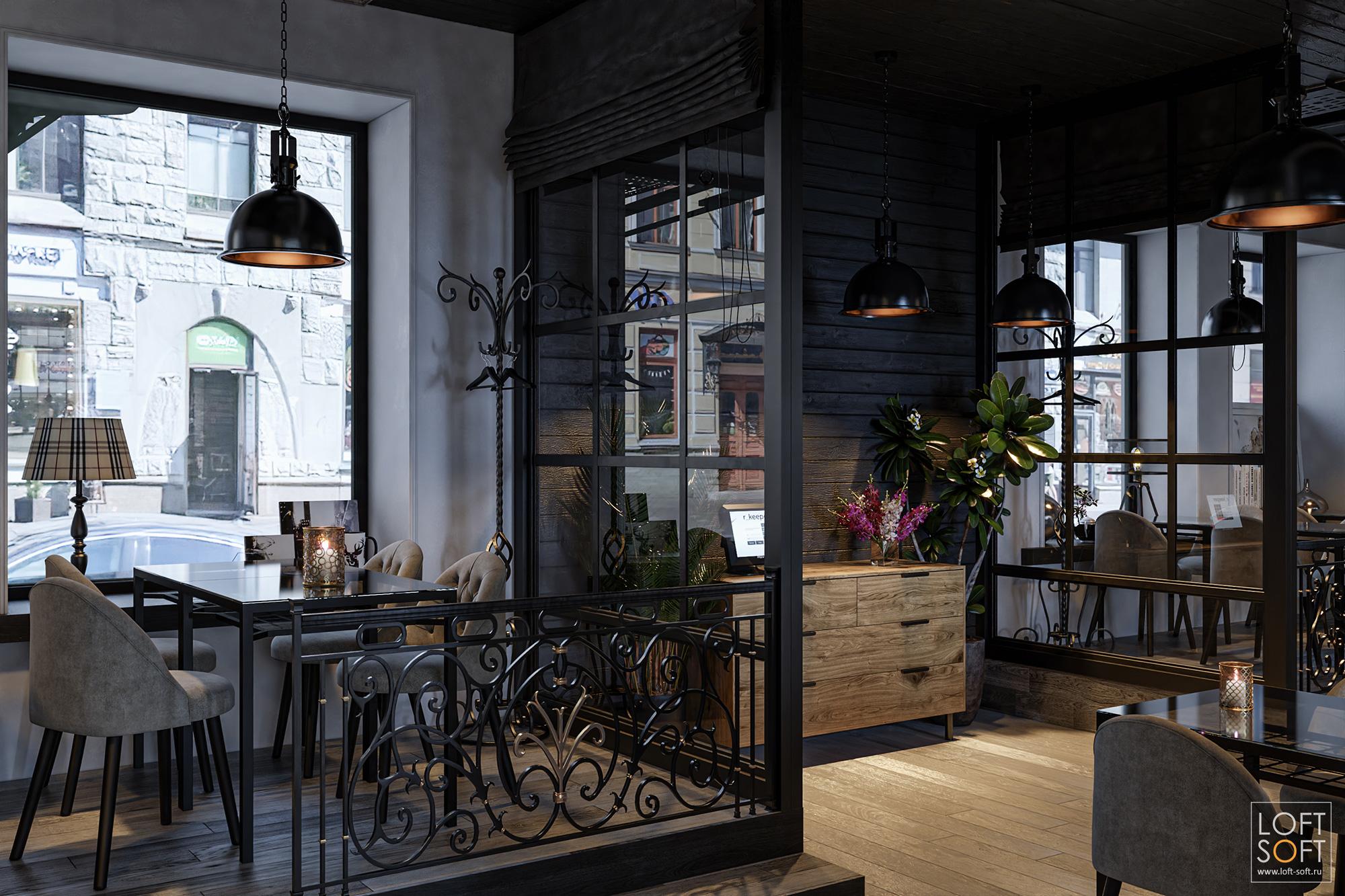 Дизайн кафе, место для официантов