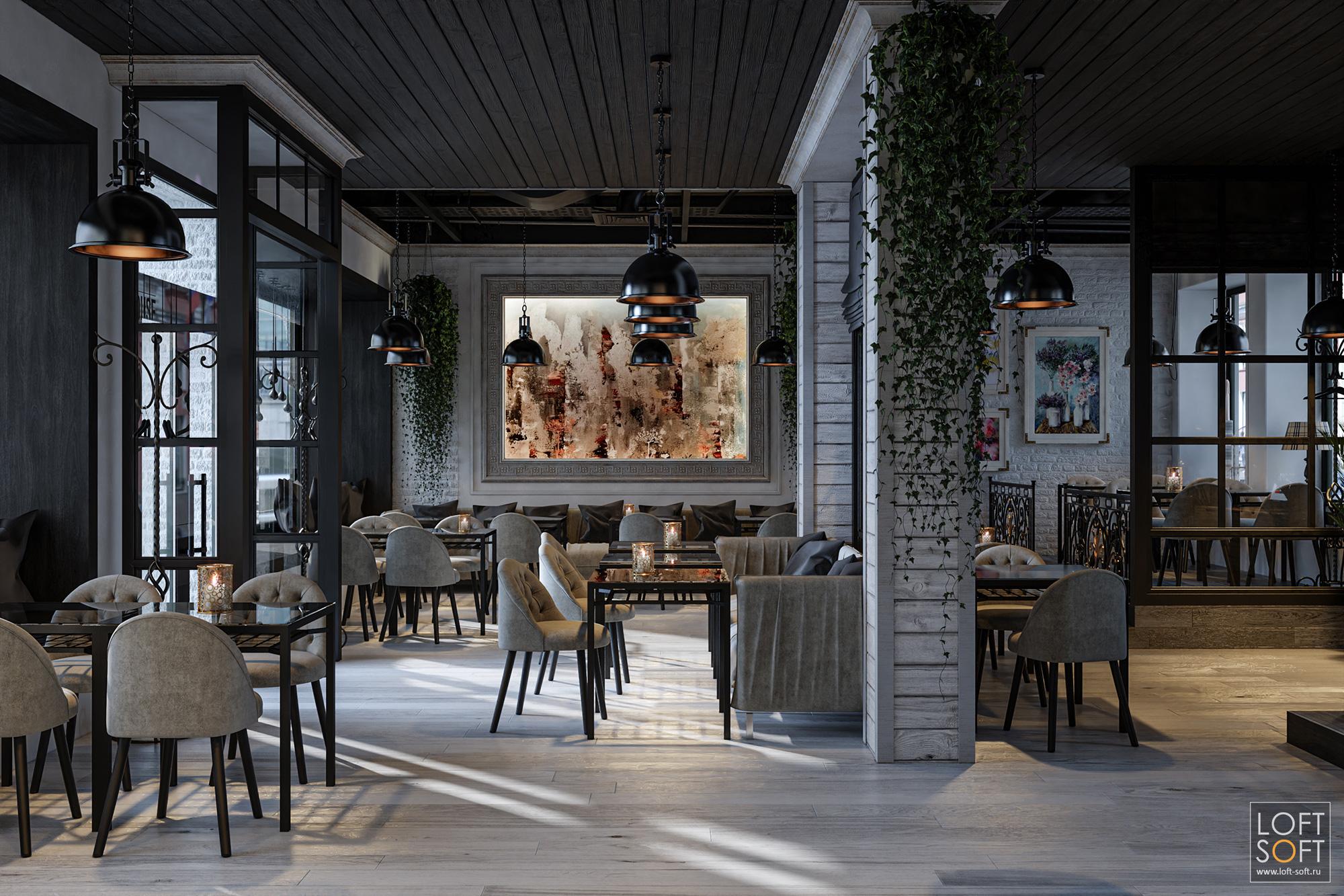 Дизайн кафе сдеревянным потолком. Кафе всовременном провансе.