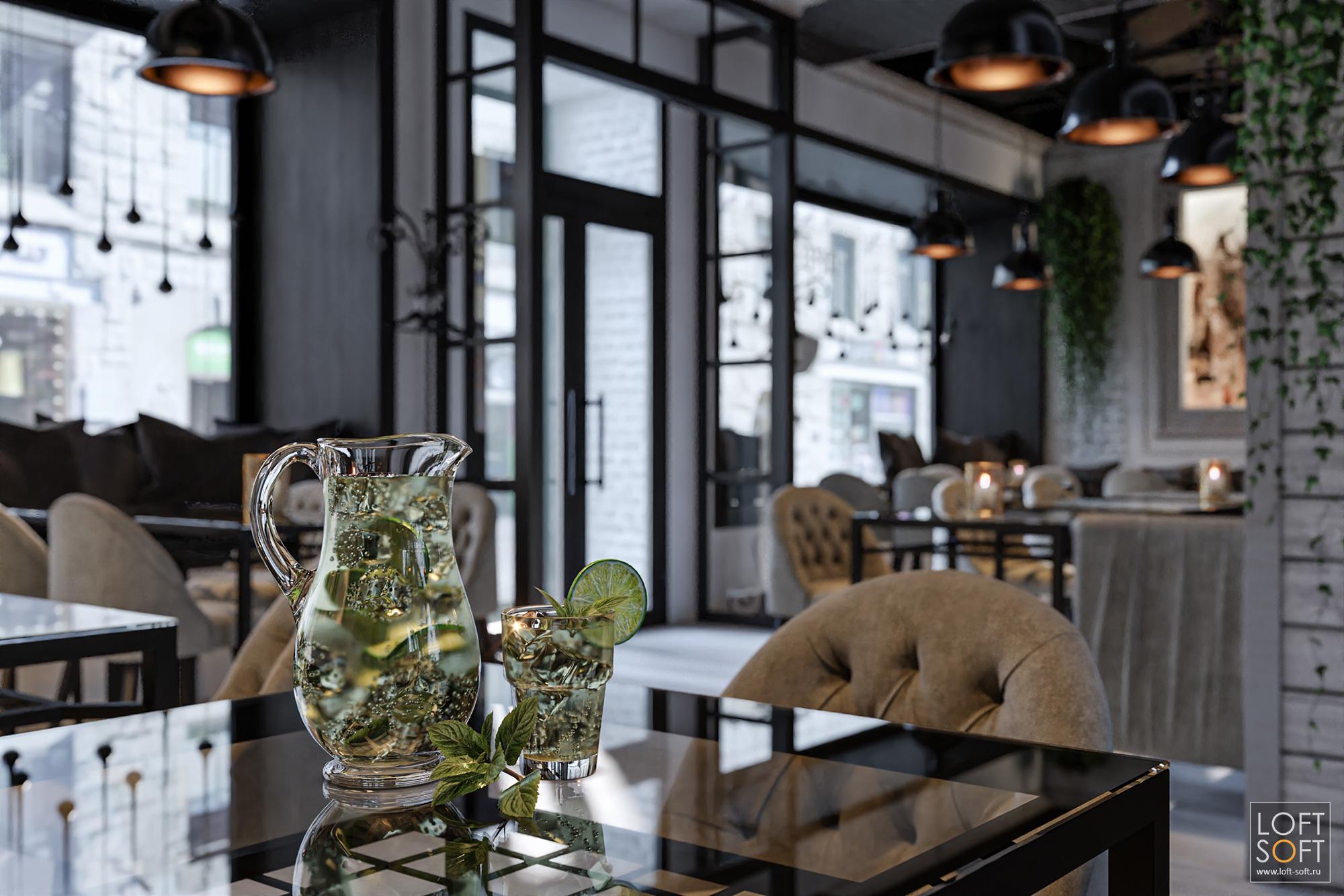 Уютное кафе встиле прованс. Цветы настоликах.