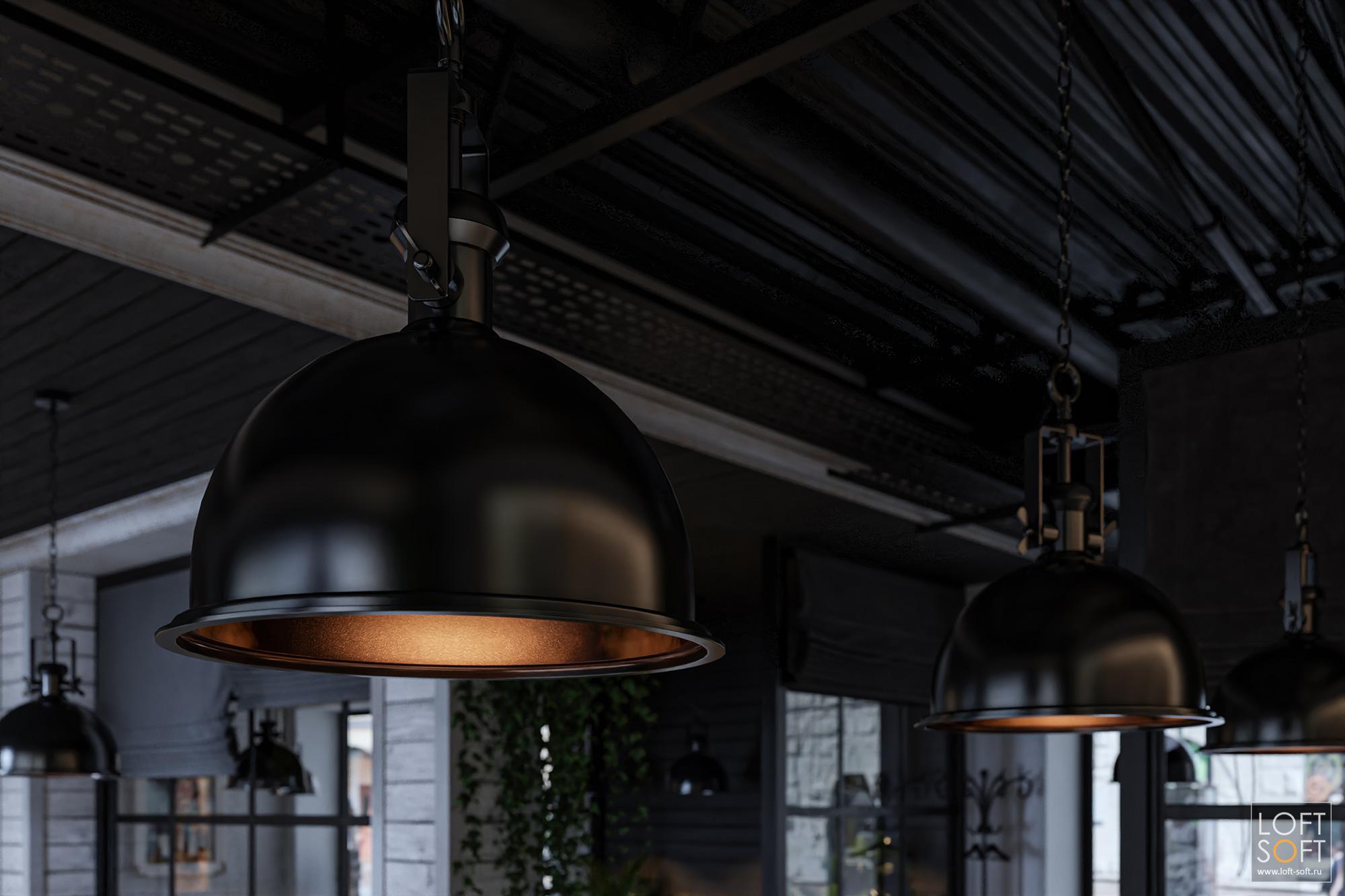 Дизайн кафе сиспользованием лофтовых светильников