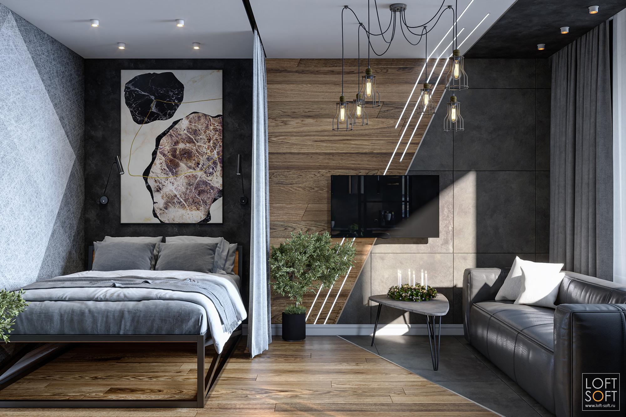 Однокомнатная квартира со спальней втёмном лофте