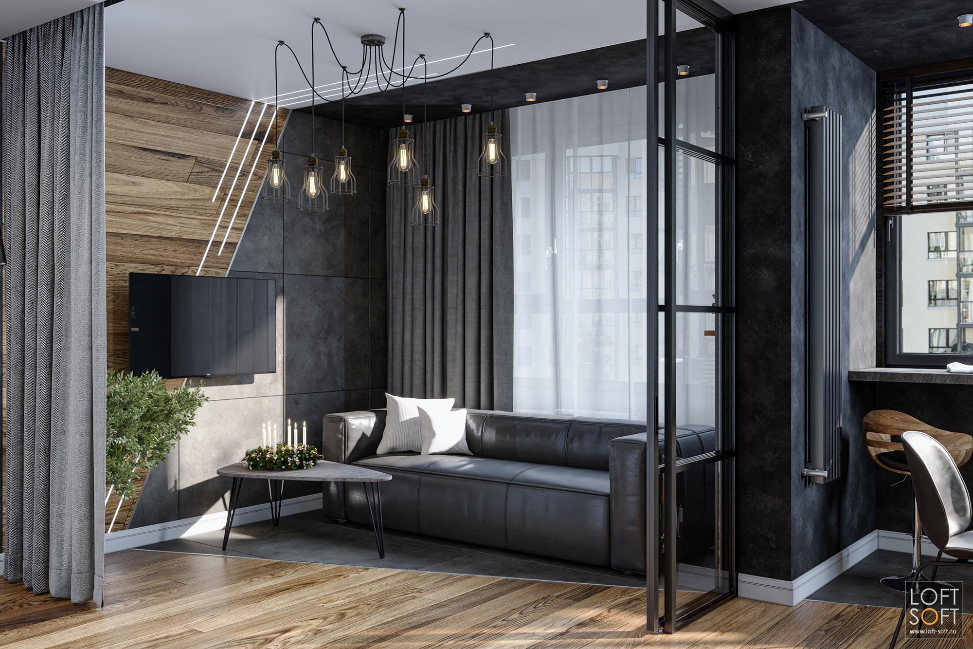 Диагональный декор втёмном интерьере, разделение спального места воднокомнатной