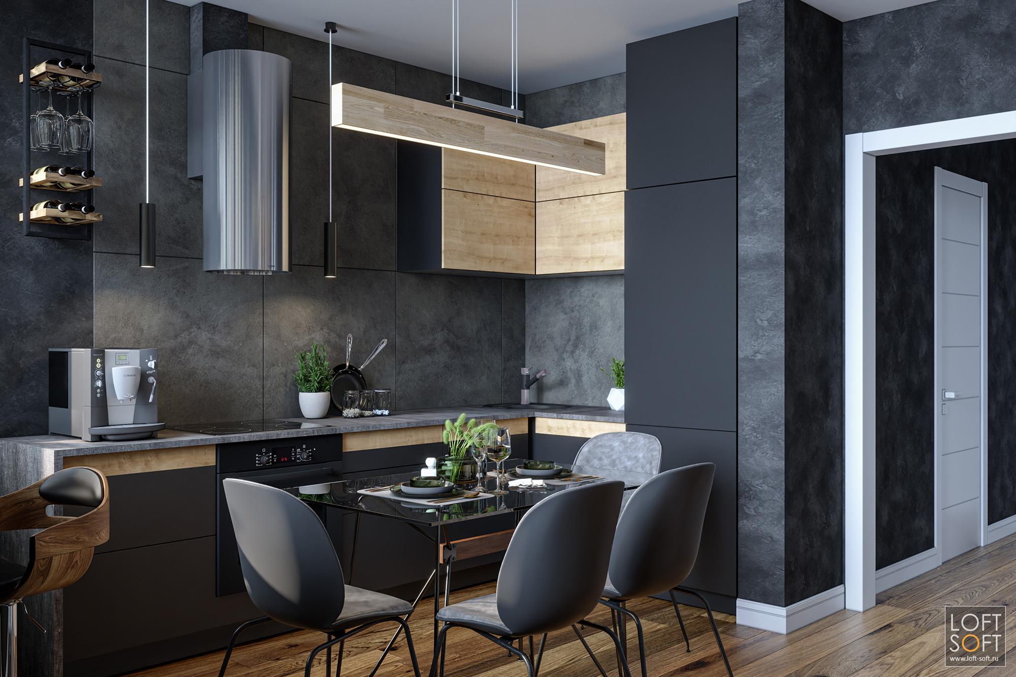 Дизайн-проект кухни втёмно-серых цветах